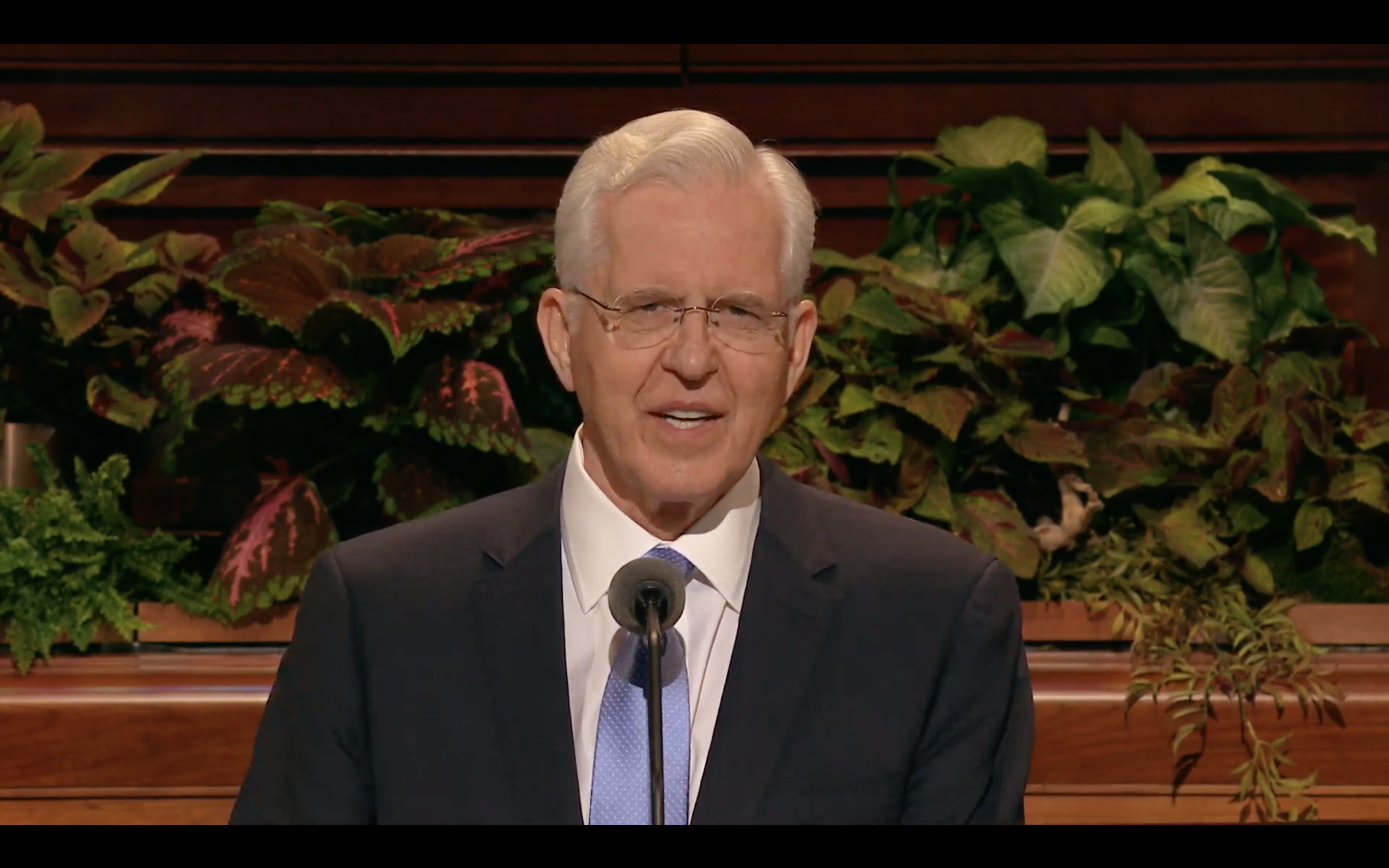 Elder D. Todd Christofferson of the Quorum of the Twelve Apostles speaks during the Saturday morning session in the 189th Semiannual General Conference of the Church on Oct. 5, 2019.