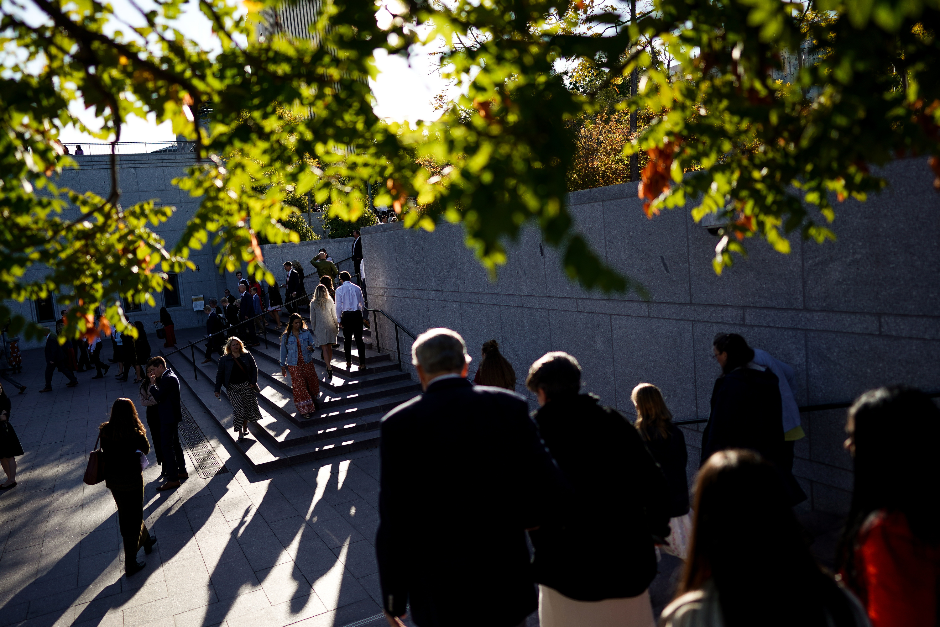 Conferencegoers arrive at the Conference Center in Salt Lake City before the 189th Semiannual General Conference of The Church of Jesus Christ of Latter-day Saints on Saturday, Oct. 5, 2019.