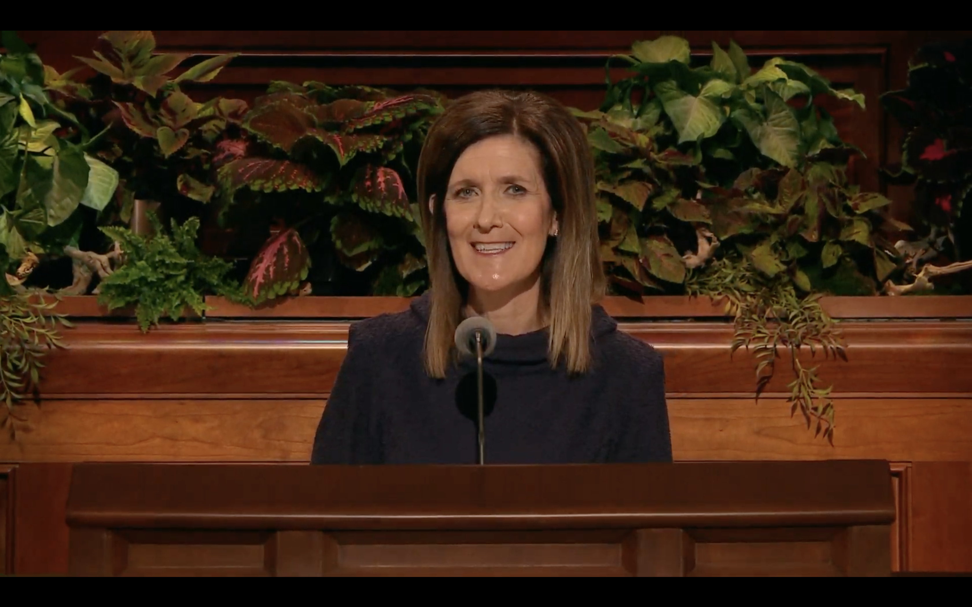 Sister Michelle Craig, first counselor in the Young Women general presidency, speaks during the Saturday morning session in the 189th Semiannual General Conference of the Church on Oct. 5, 2019.