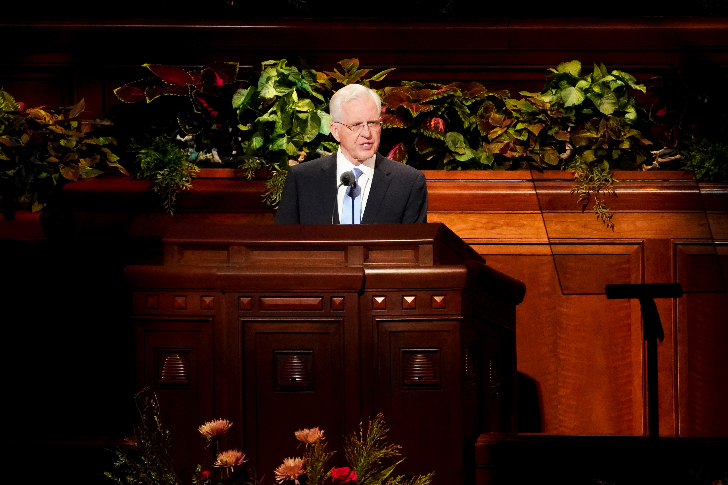 Elder D. Todd Christofferson of the Quorum of the Twelve Apostles speaks during the Saturday morning session of the 189th Semiannual General Conference of The Church of Jesus Christ of Latter-day Saints at the Conference Center in Salt Lake City on Saturday, Oct. 5, 2019.