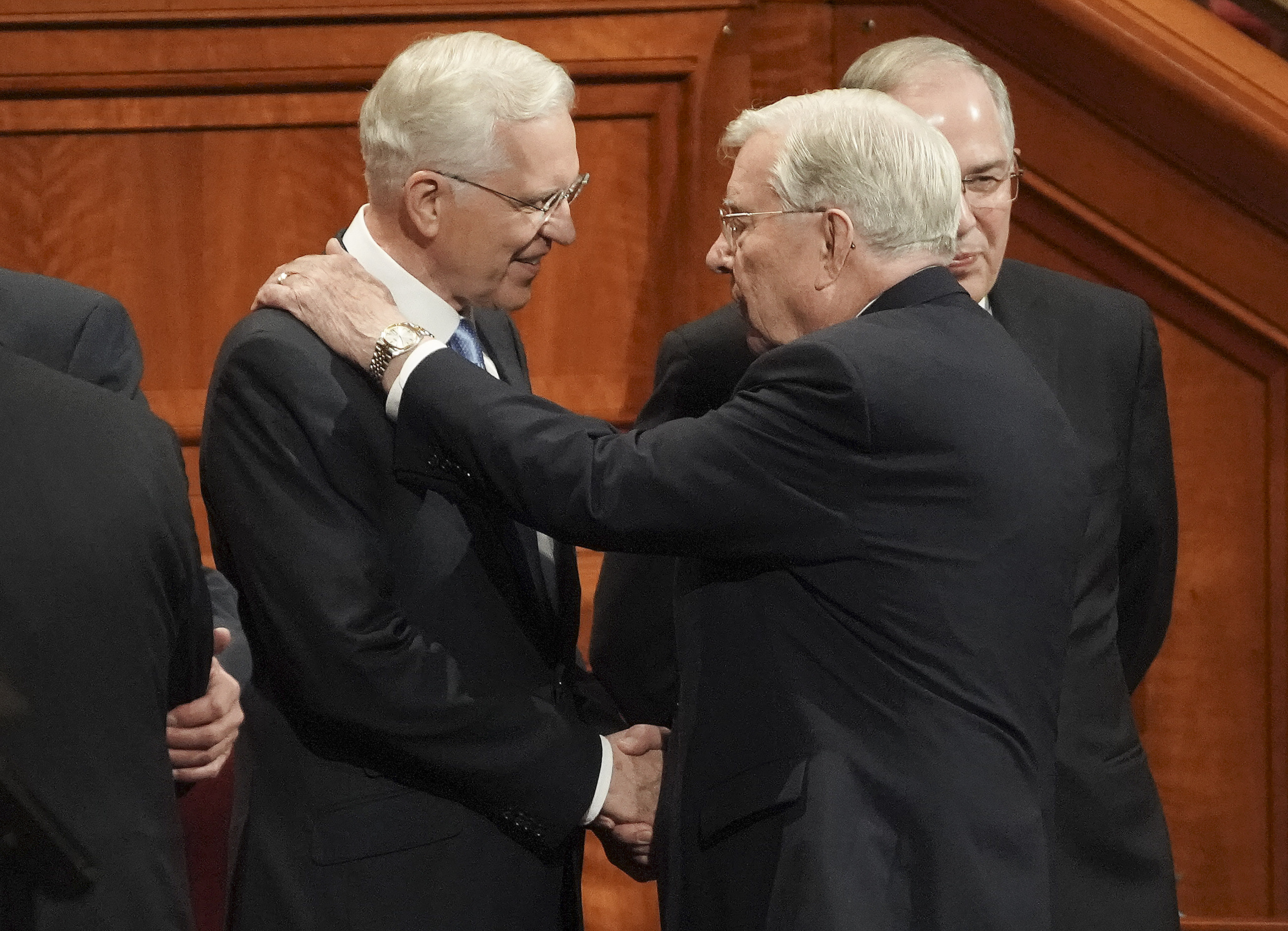 Elder D. Todd Christofferson of the Quorum of the Twelve Apostles and President M. Russell Ballard, acting president of the Quroum of the Twelve Apostles, greet prior to the Saturday morning session of the 189th Semiannual General Conference of The Church of Jesus Christ of Latter-day Saints in the Conference Center in Salt Lake City on Saturday, Oct. 5, 2019.
