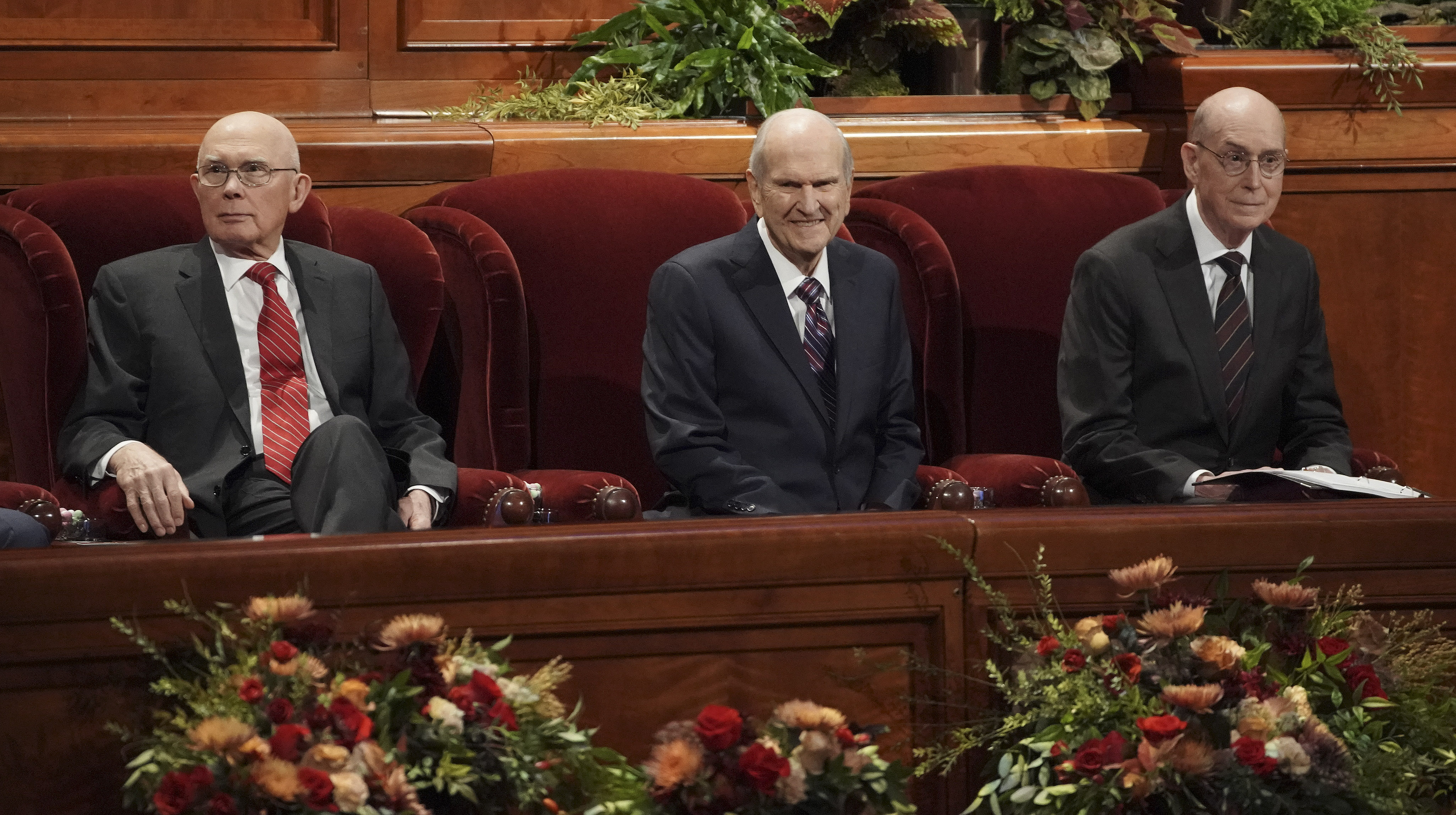 President Russell M. Nelson, center, and his counselors, President Dallin H. Oaks, first counselor in the First Presidency, left, and President Henry B. Eyring, second counselor in the First Presidency, right, during the Saturday morning session of the 189th Semiannual General Conference of The Church of Jesus Christ of Latter-day Saints in the Conference Center in Salt Lake City on Saturday, Oct. 5, 2019.