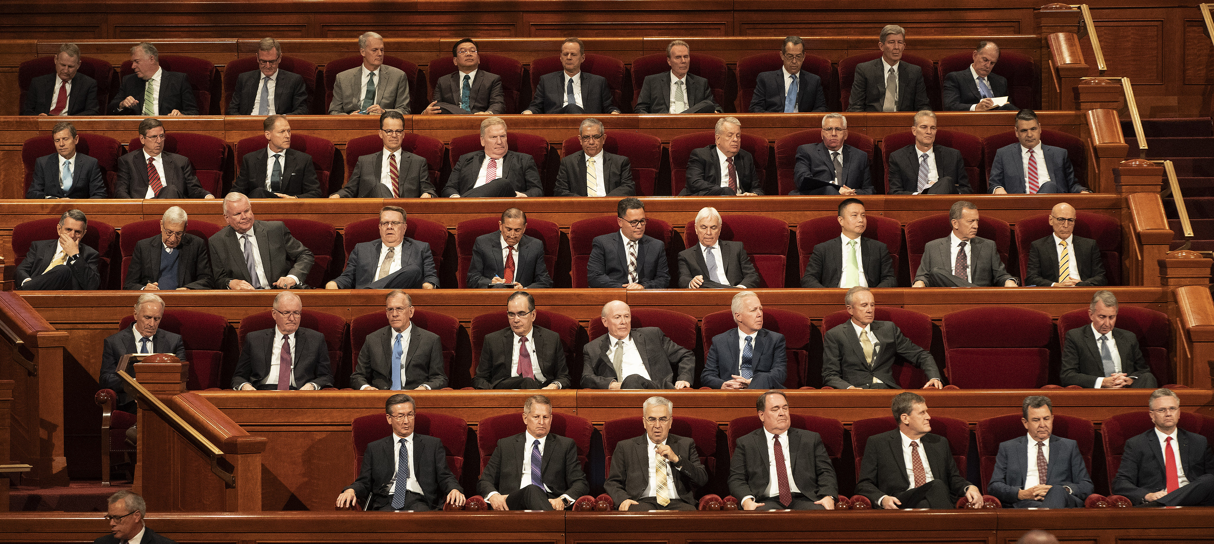 General authorities wait for the start of the Saturday morning session of the 189th Semiannual General Conference of The Church of Jesus Christ of Latter-day Saints at the Conference Center in Salt Lake City on Saturday, Oct. 5, 2019.