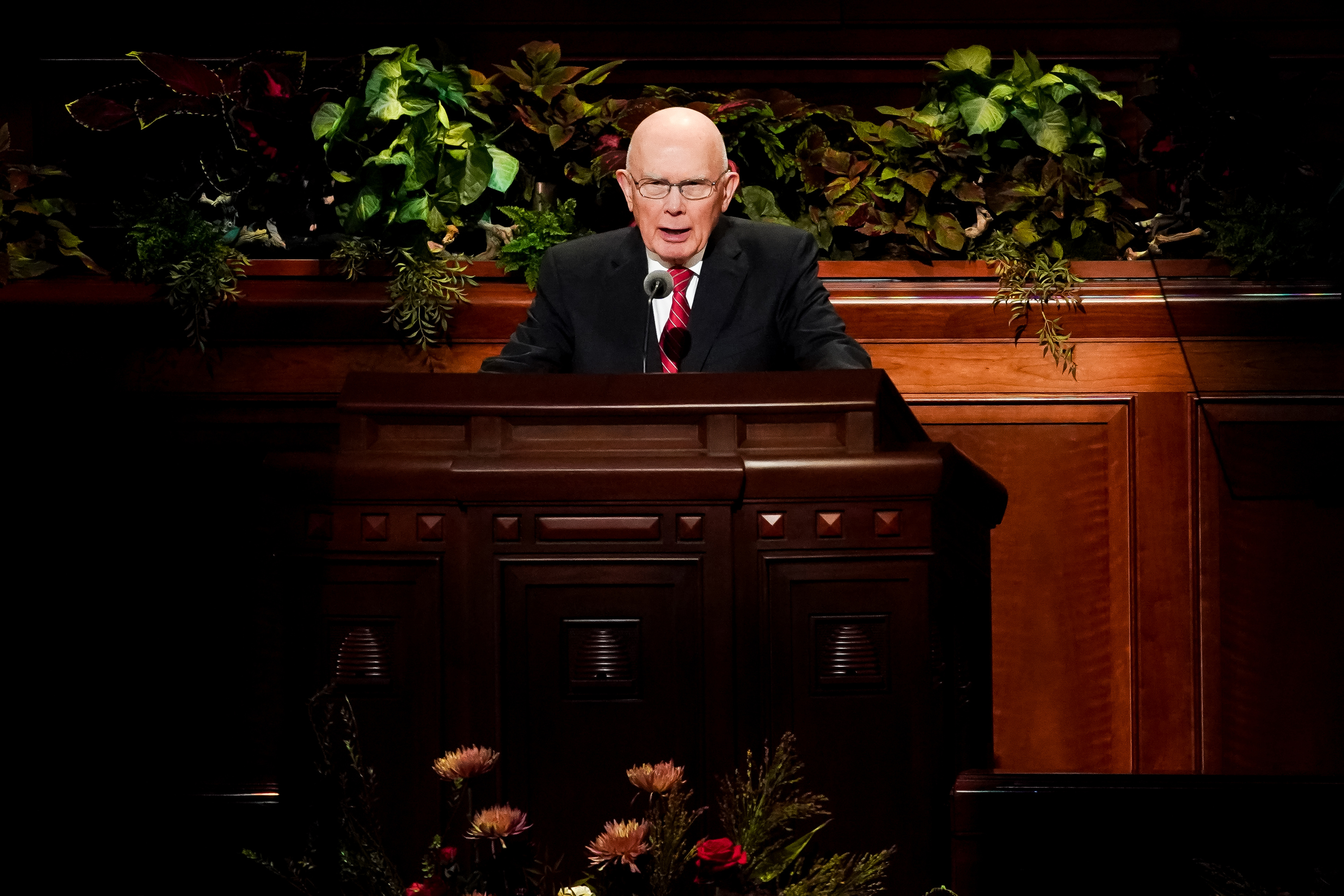 President Dallin H. Oaks, first counselor in the First Presidency, speaks during the Saturday morning session of the 189th Semiannual General Conference of The Church of Jesus Christ of Latter-day Saints in the Conference Center in Salt Lake City on Saturday, Oct. 5, 2019.