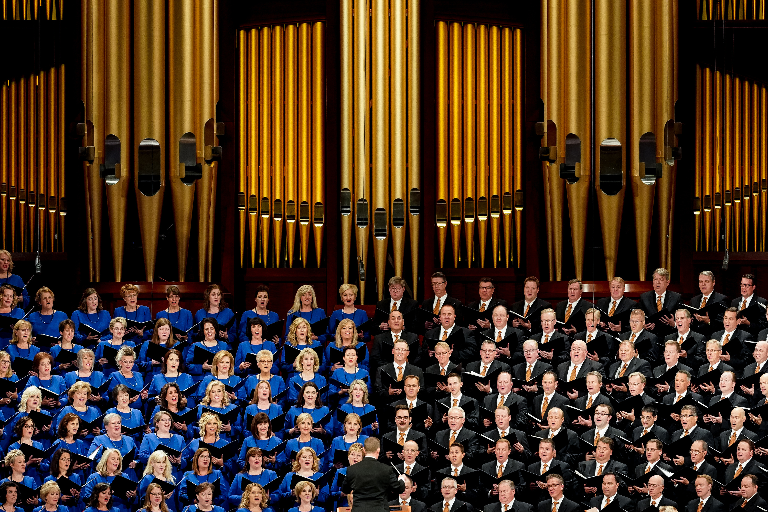 The Tabernacle Choir at Temple Square, directed by Mack Wilberg, sings during the Saturday morning session of the 189th Semiannual General Conference of The Church of Jesus Christ of Latter-day Saints in the Conference Center in Salt Lake City on Saturday, Oct. 5, 2019.
