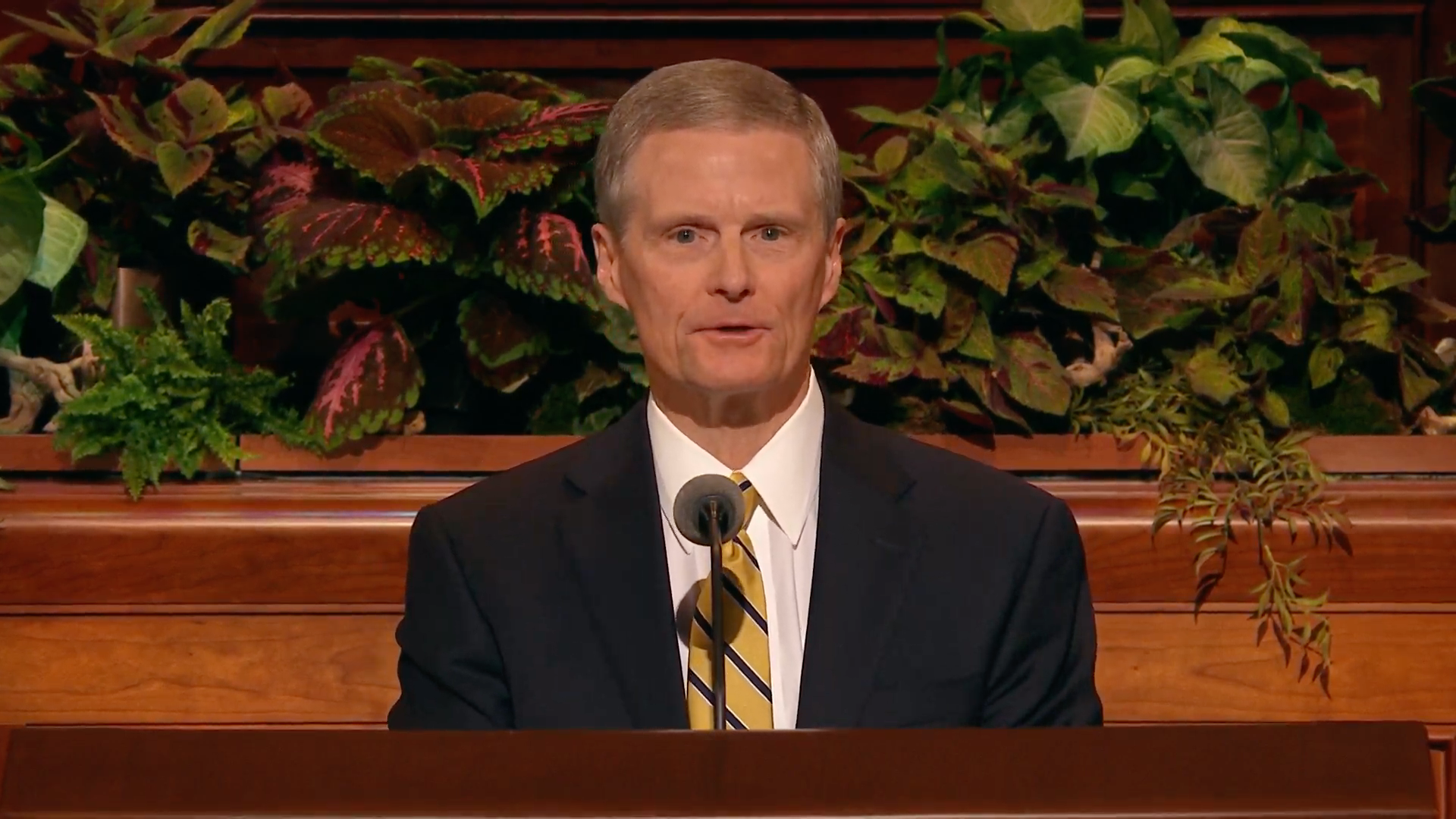 Elder David A. Bednar of the Quorum of the Twelve Apostles speaks during the Saturday afternoon session in the 189th Semiannual General Conference of the Church on Oct. 5, 2019.