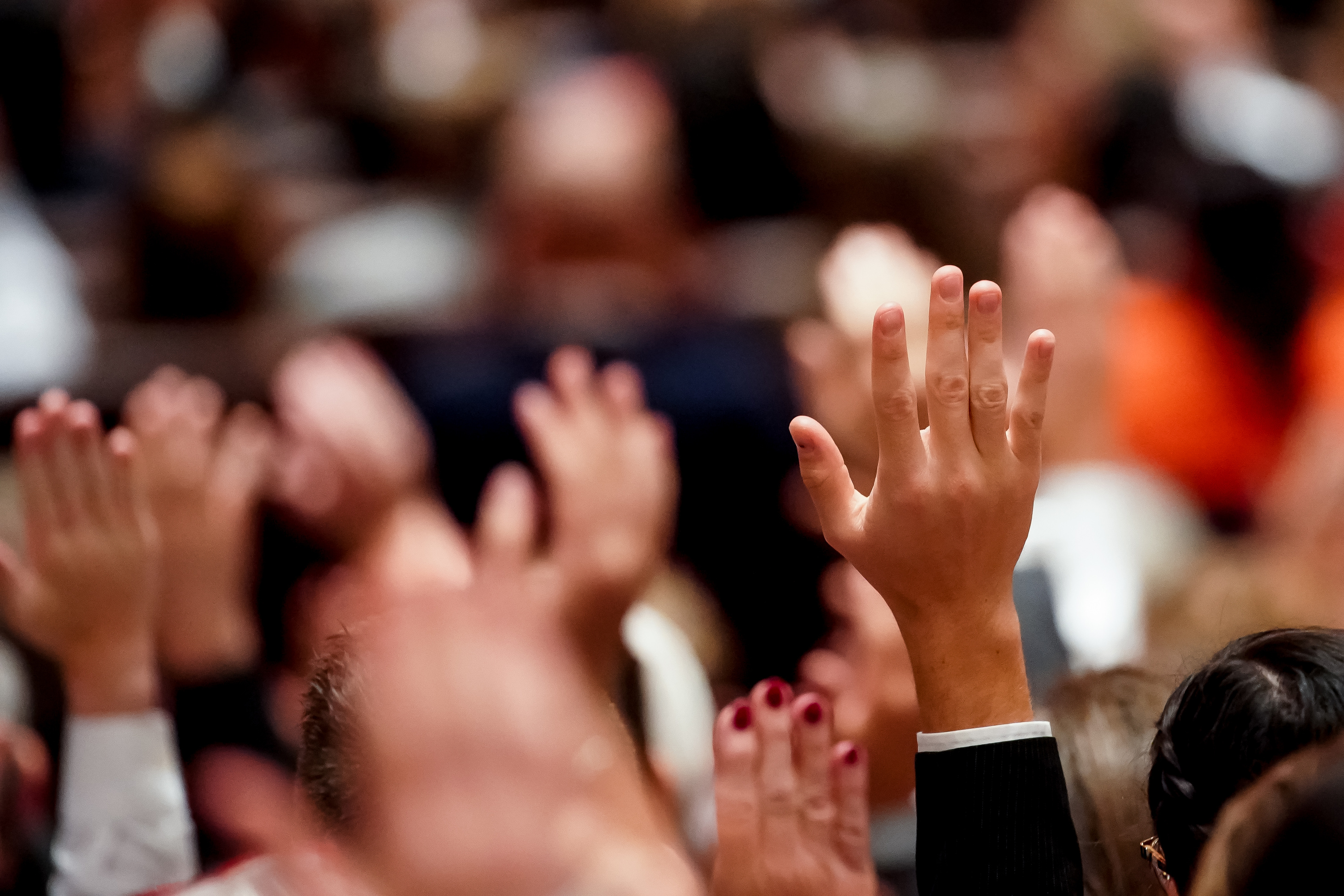 Conferencegoers sustain church leadership during the Saturday afternoon session of the 189th Semiannual General Conference of The Church of Jesus Christ of Latter-day Saints in the Conference Center in Salt Lake City on Saturday, Oct. 5, 2019.