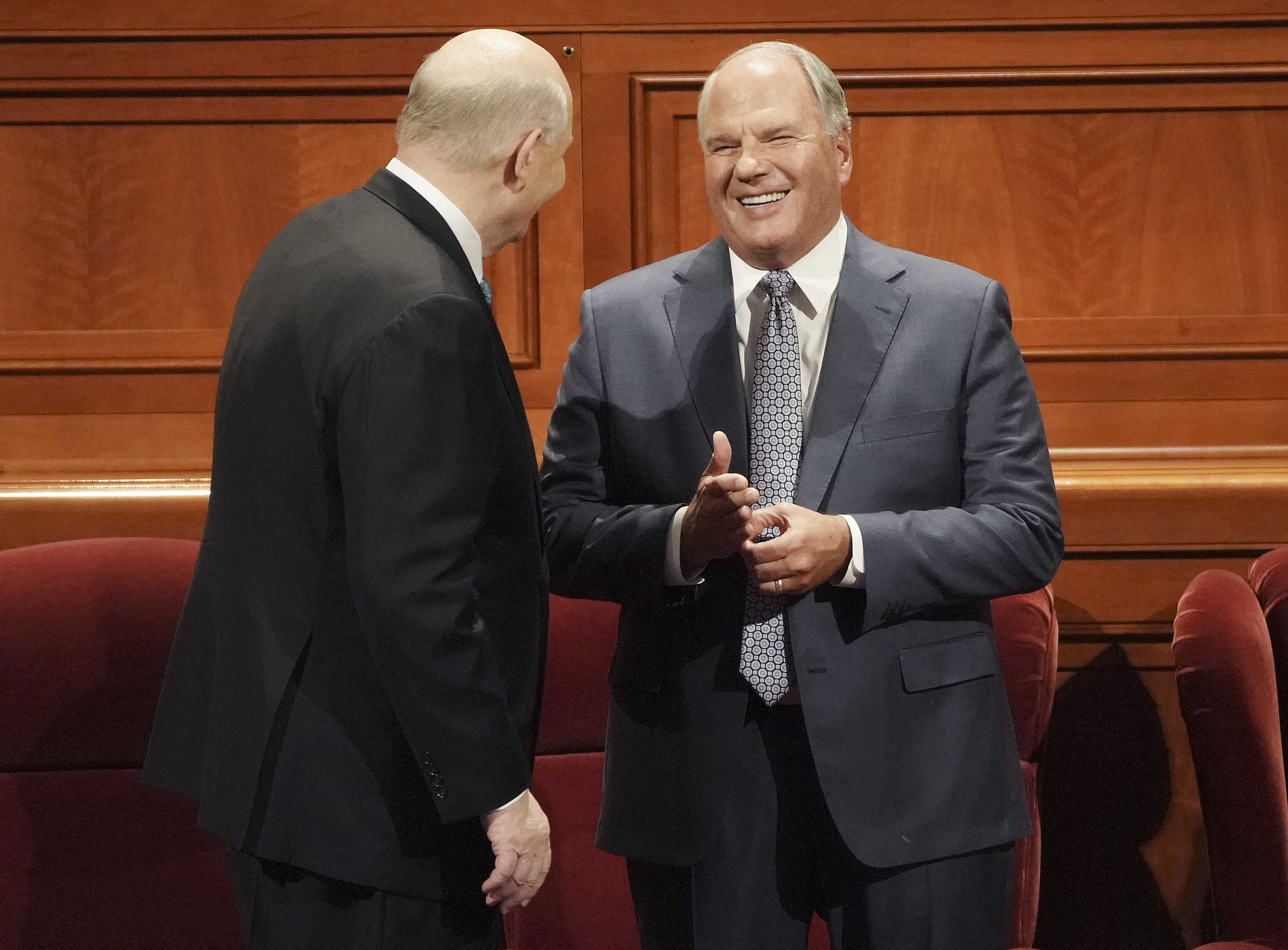 Elder Dale G. Renlund and Elder Ronald A. Rasband of the Quorum of the Twelve Apostles talk prior to the Saturday afternoon session of the 189th Semiannual General Conference of The Church of Jesus Christ of Latter-day Saints in the Conference Center in Salt Lake City on Saturday, Oct. 5, 2019.