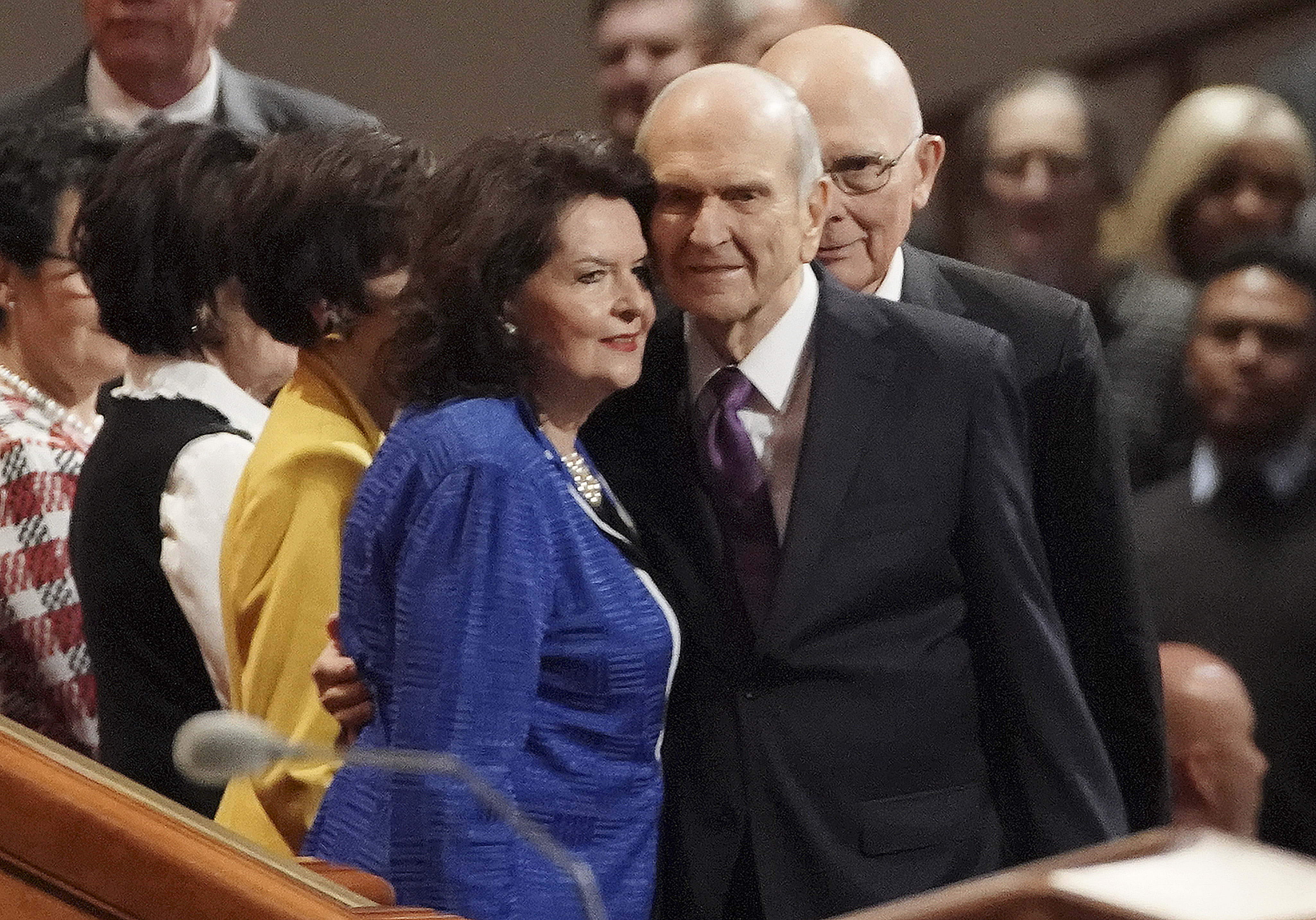 President Russell M. Nelson greets his wife, Sister Wendy Nelson, prior to the Saturday aftertnoon session of the 189th Semiannual General Conference of The Church of Jesus Christ of Latter-day Saints in the Conference Center in Salt Lake City on Saturday, Oct. 5, 2019.