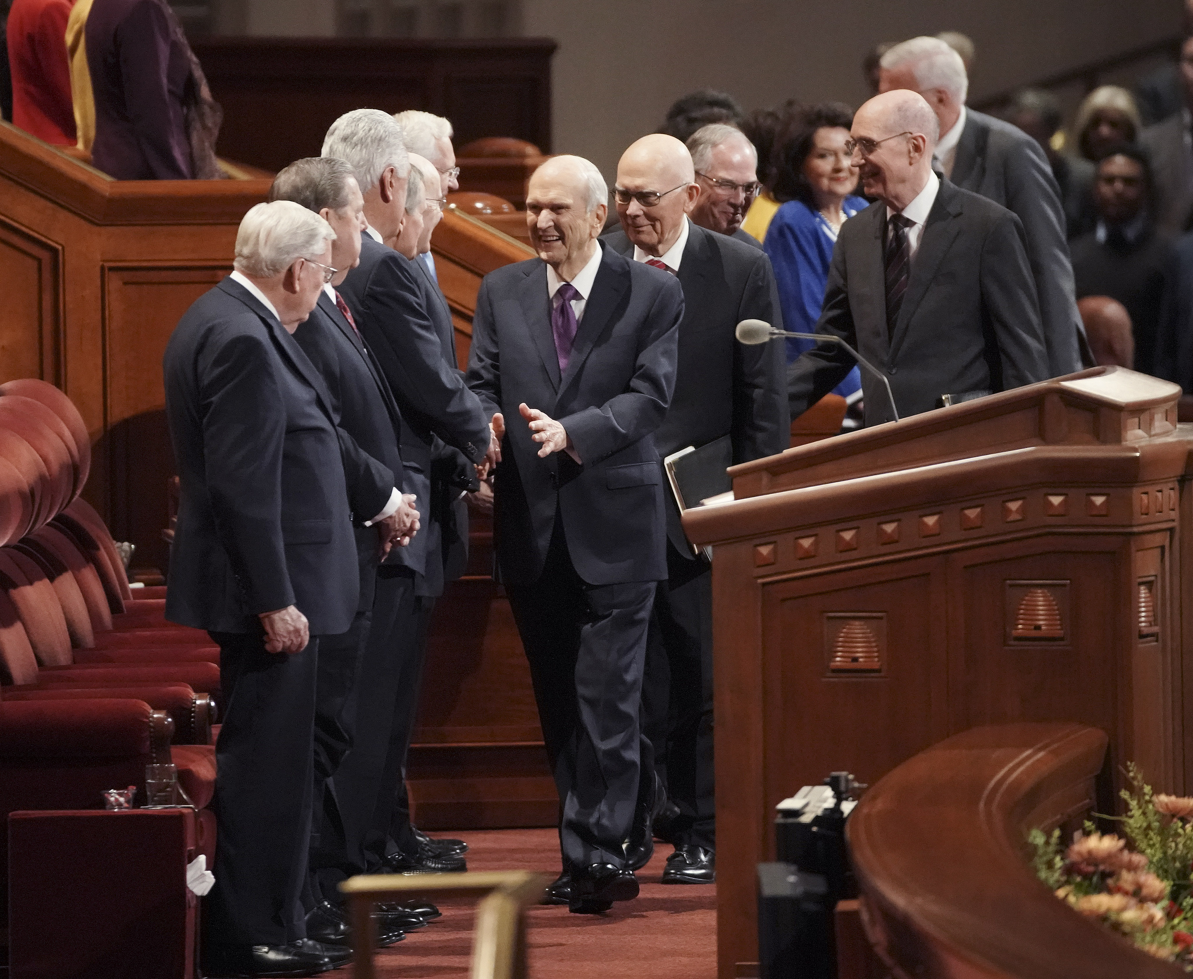 President Russell M. Nelson greets other general authorities before the Saturday afternoon of the 189th Semiannual General Conference of The Church of Jesus Christ of Latter-day Saints in the Conference Center in Salt Lake City on Saturday, Oct. 5, 2019.