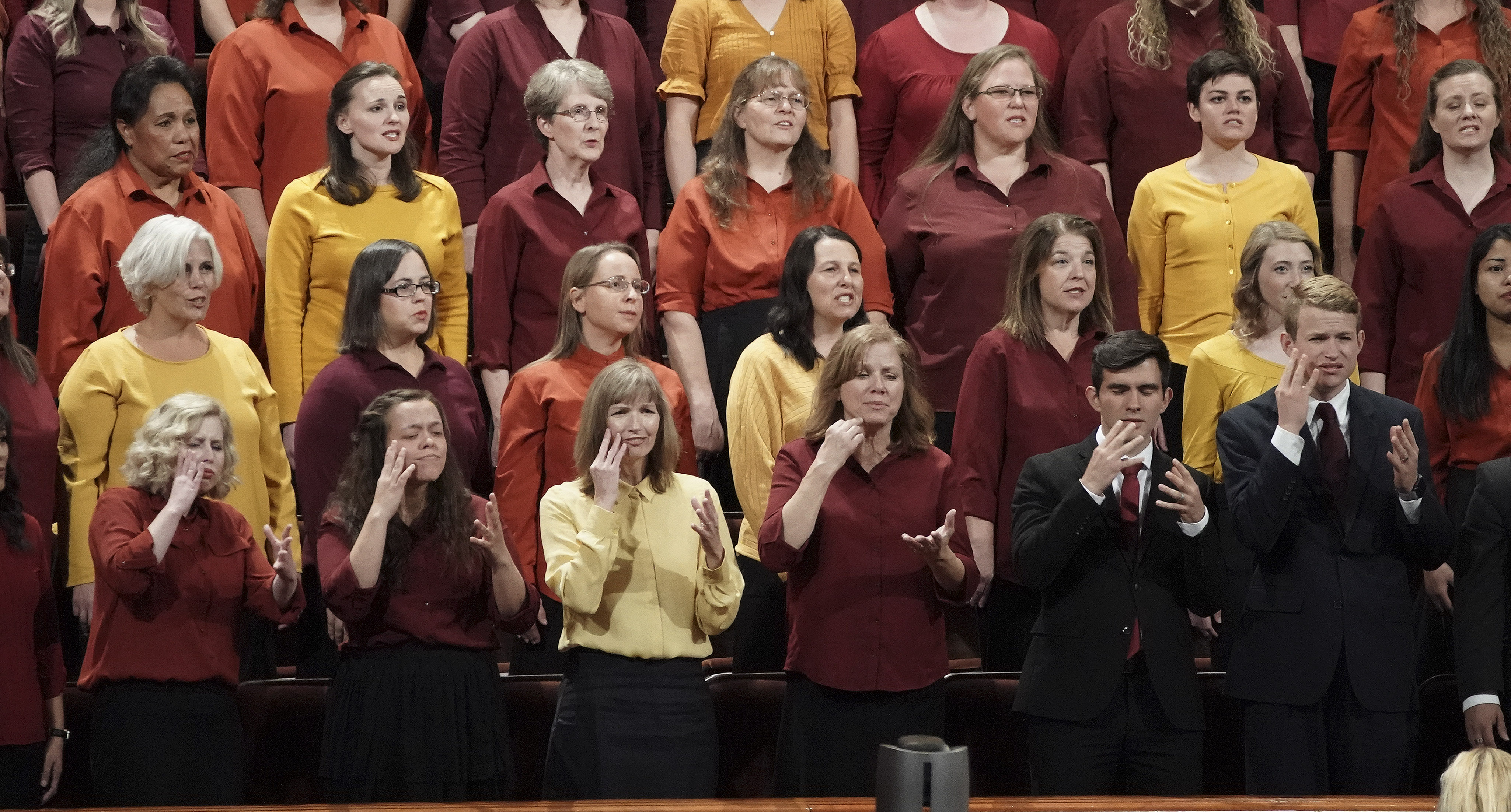 A combined choir and signers from Provo, Utah, sing during the Saturday afternoon session of the 189th Semiannual General Conference of The Church of Jesus Christ of Latter-day Saints in the Conference Center in Salt Lake City on Saturday, Oct. 5, 2019.