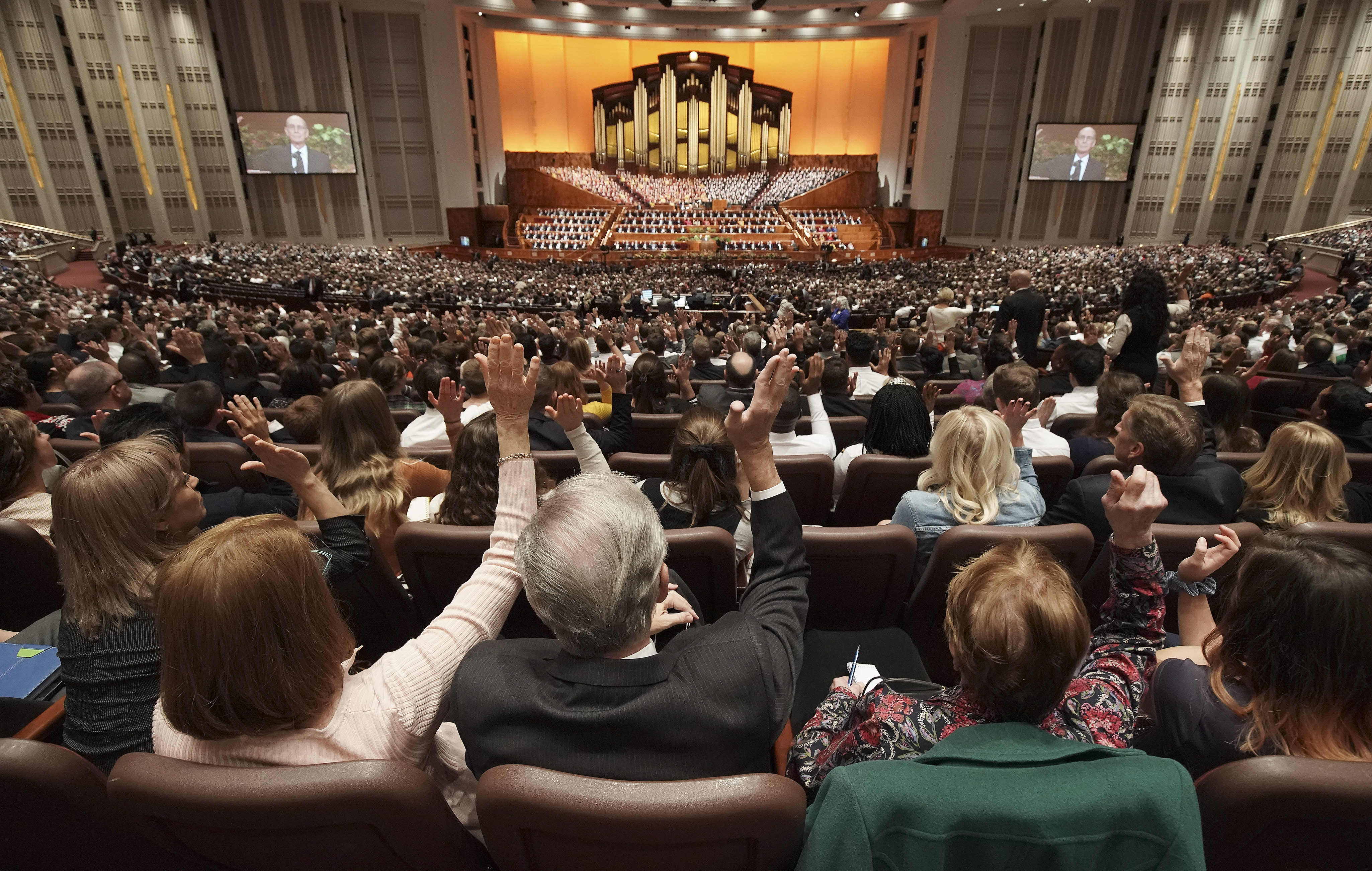 Conferencegoers sustain church leaders during the Saturday afternoon session of the 189th Semiannual General Conference of The Church of Jesus Christ of Latter-day Saints in the Conference Center in Salt Lake City on Saturday, Oct. 5, 2019.