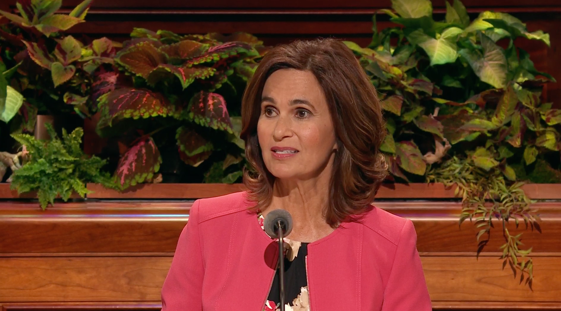Sister Lisa Harkness, first counselor in the Primary general presidency, speaks during the general women's session in the 189th Semiannual General Conference of the Church on Oct. 5, 2019.