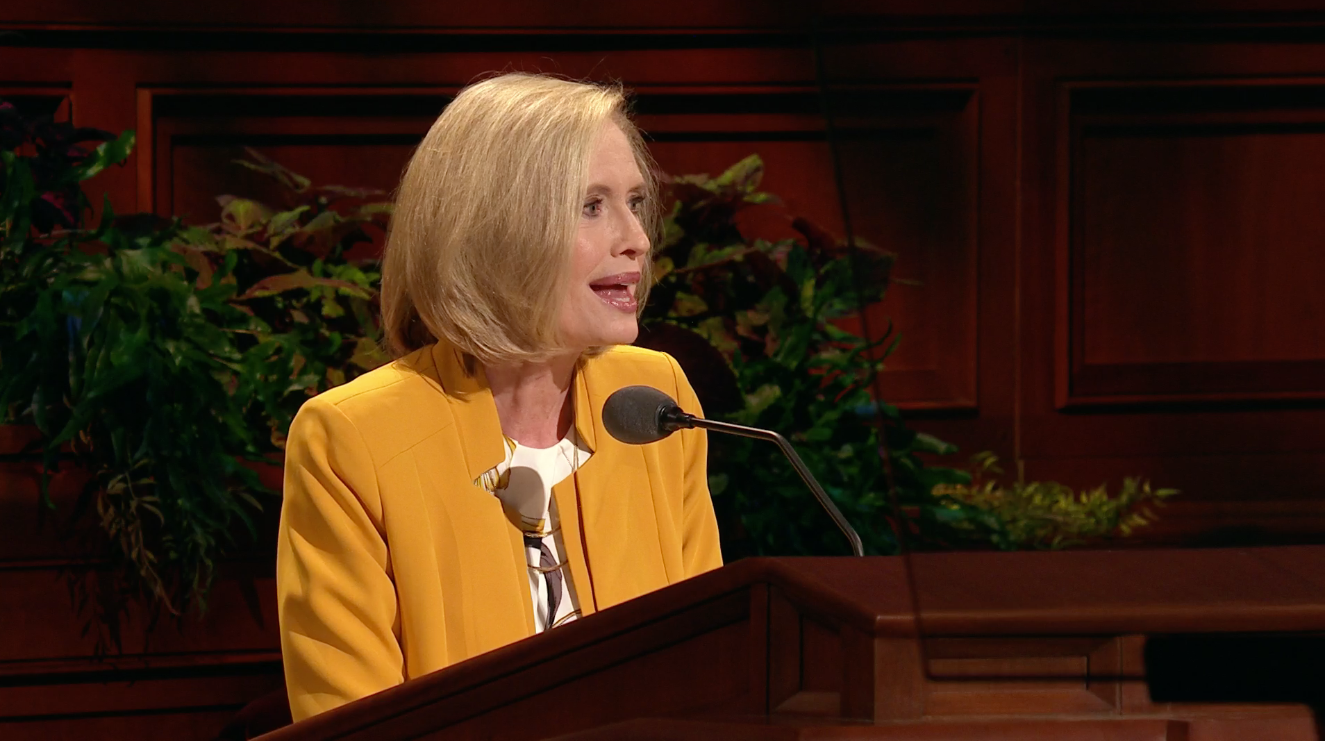 Sister Bonnie H. Cordon, Young Women general president, speaks during the general women's session in the 189th Semiannual General Conference of the Church on Oct. 5, 2019.