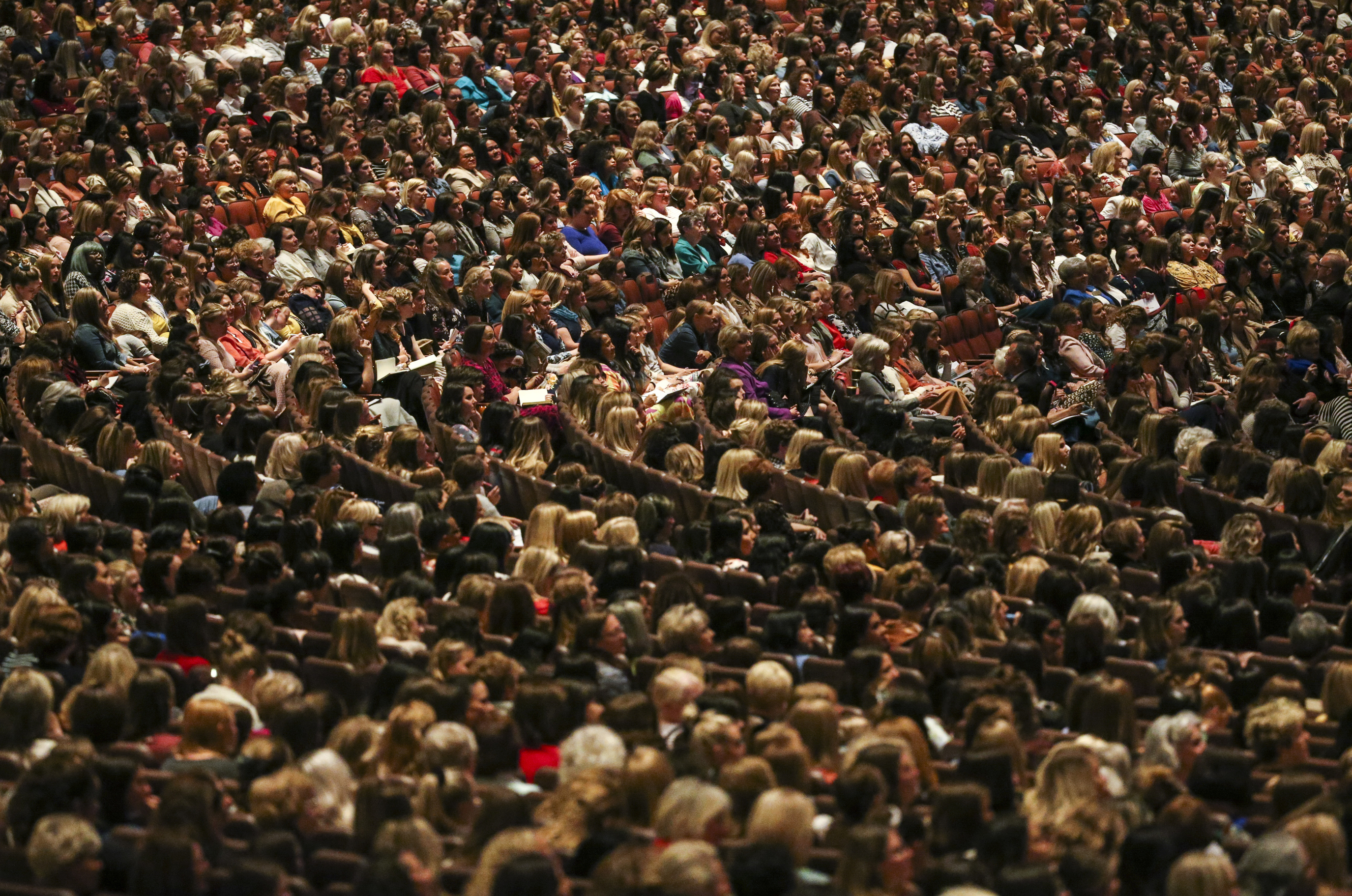 Women pack the Conference Center during the women's session of the 189th Semiannual General Conference of The Church of Jesus Christ of Latter-day Saints in Salt Lake City on Saturday, Oct. 5, 2019.