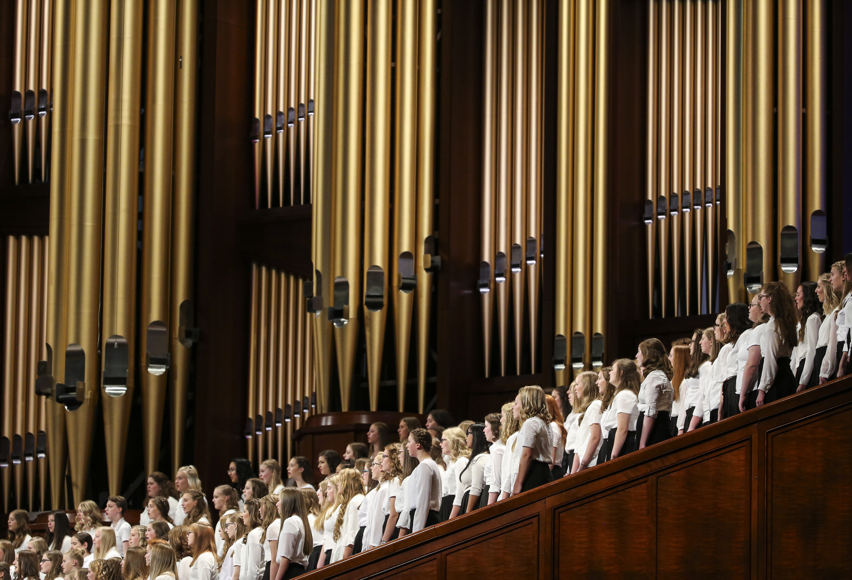 A choir of Primary girls and young women from stakes in West Jordan perform during the women's session of the 189th Semiannual General Conference of The Church of Jesus Christ of Latter-day Saints at the Conference Center in Salt Lake City on Saturday, Oct. 5, 2019.