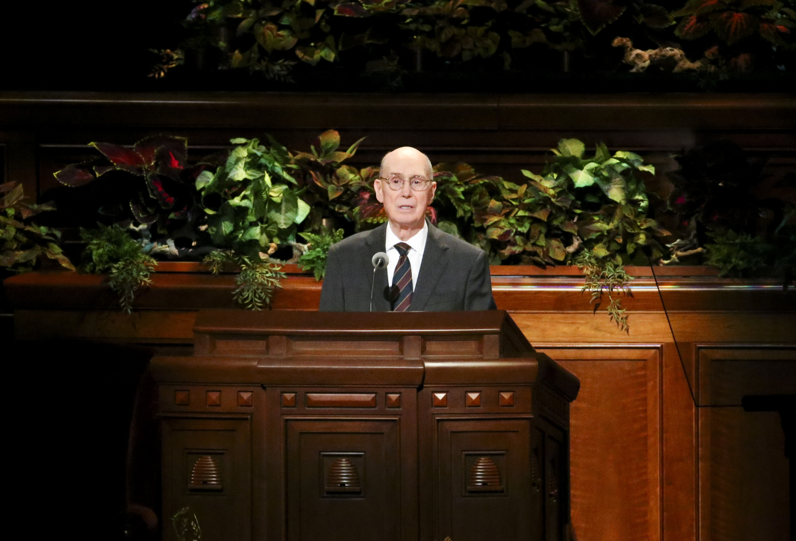President Henry B. Eyring, second counselor in the First Presidency, speaks during the women's session of the 189th Semiannual General Conference of The Church of Jesus Christ of Latter-day Saints at the Conference Center in Salt Lake City on Saturday, Oct. 5, 2019.