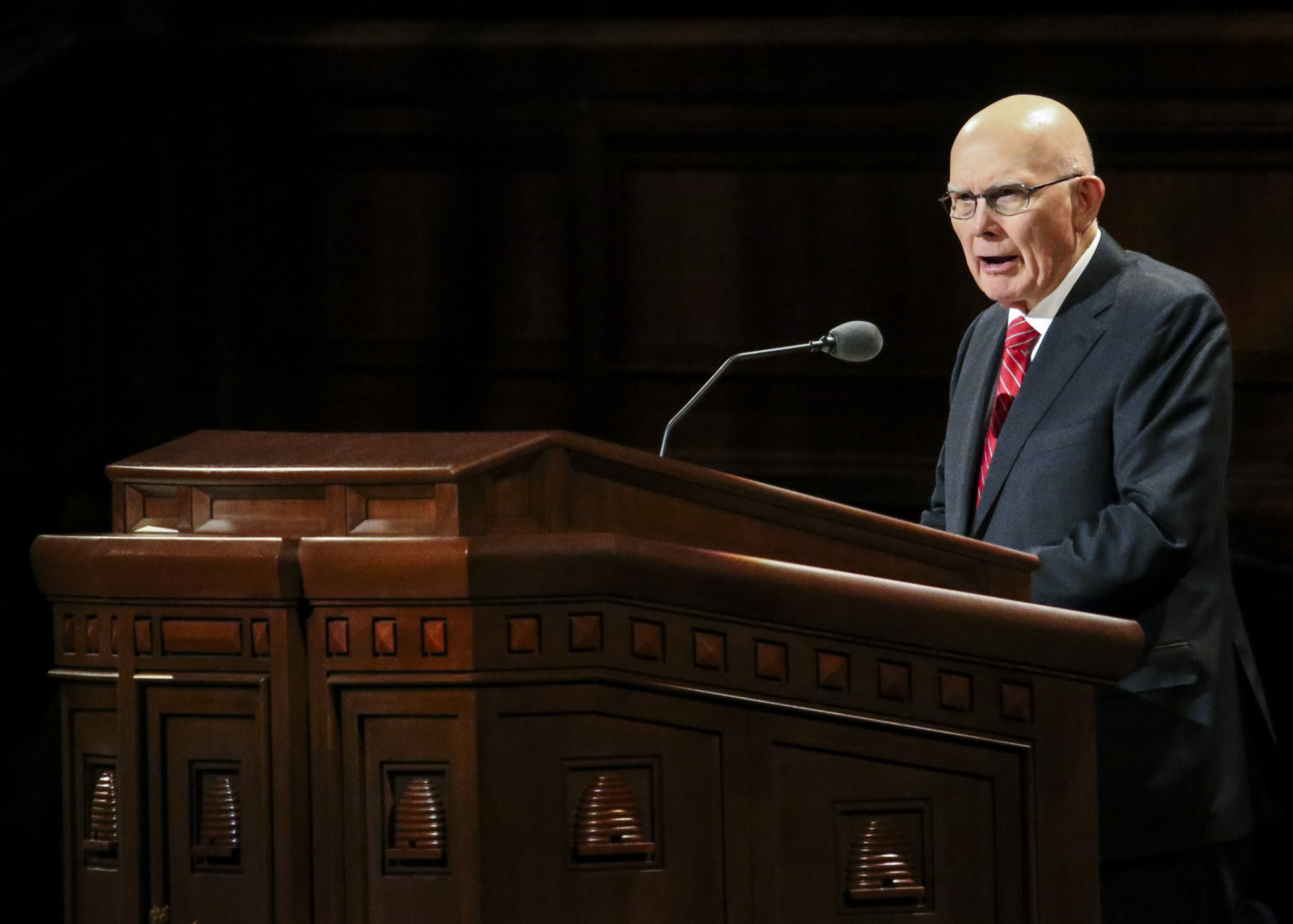 President Dallin H. Oaks, first counselor in the First Presidency, speaks during the women's session of the 189th Semiannual General Conference of The Church of Jesus Christ of Latter-day Saints at the Conference Center in Salt Lake City on Saturday, Oct. 5, 2019.
