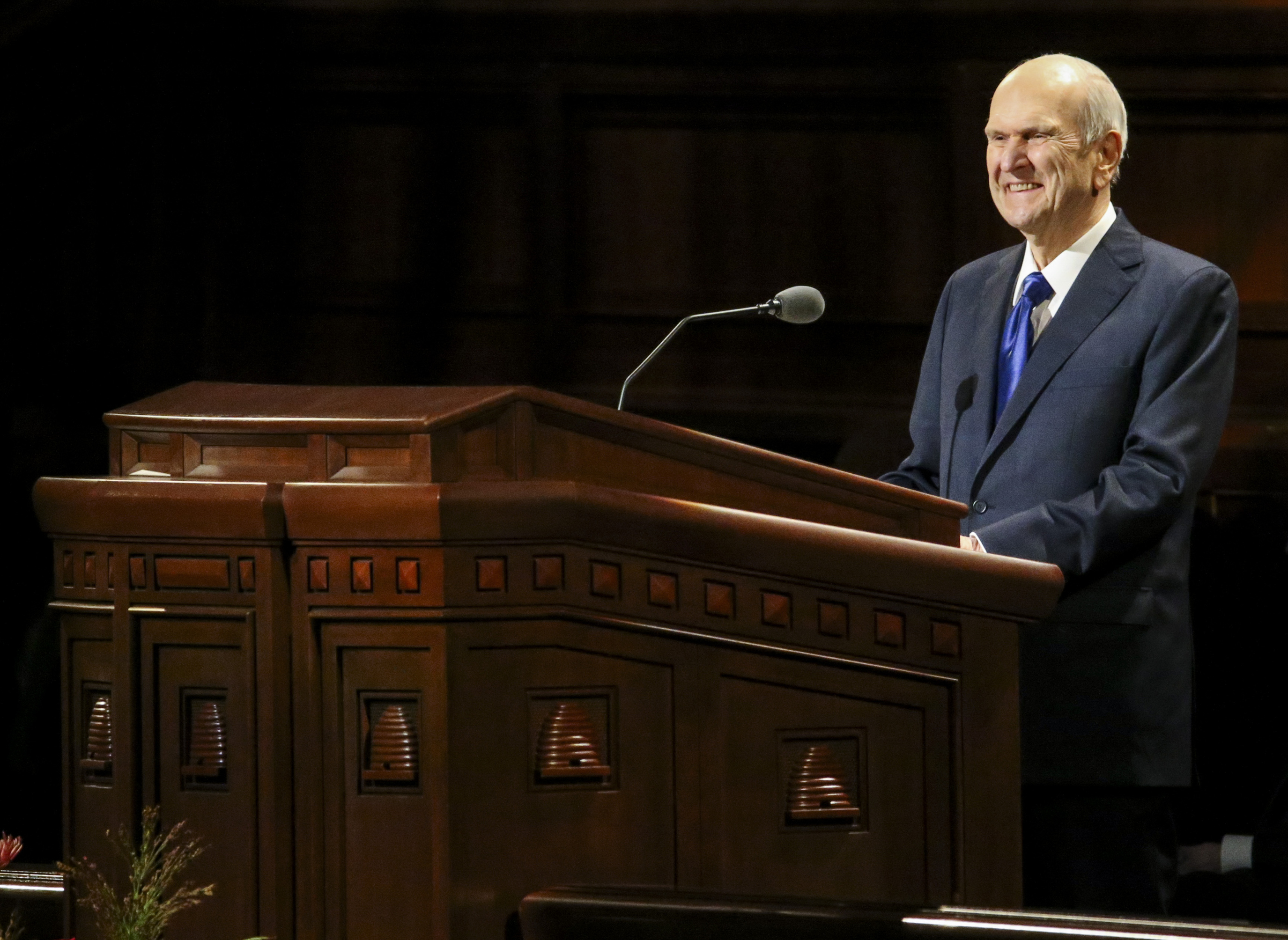 President Russell M. Nelson speaks during the women's session of the 189th Semiannual General Conference of The Church of Jesus Christ of Latter-day Saints at the Conference Center in Salt Lake City on Saturday, Oct. 5, 2019.