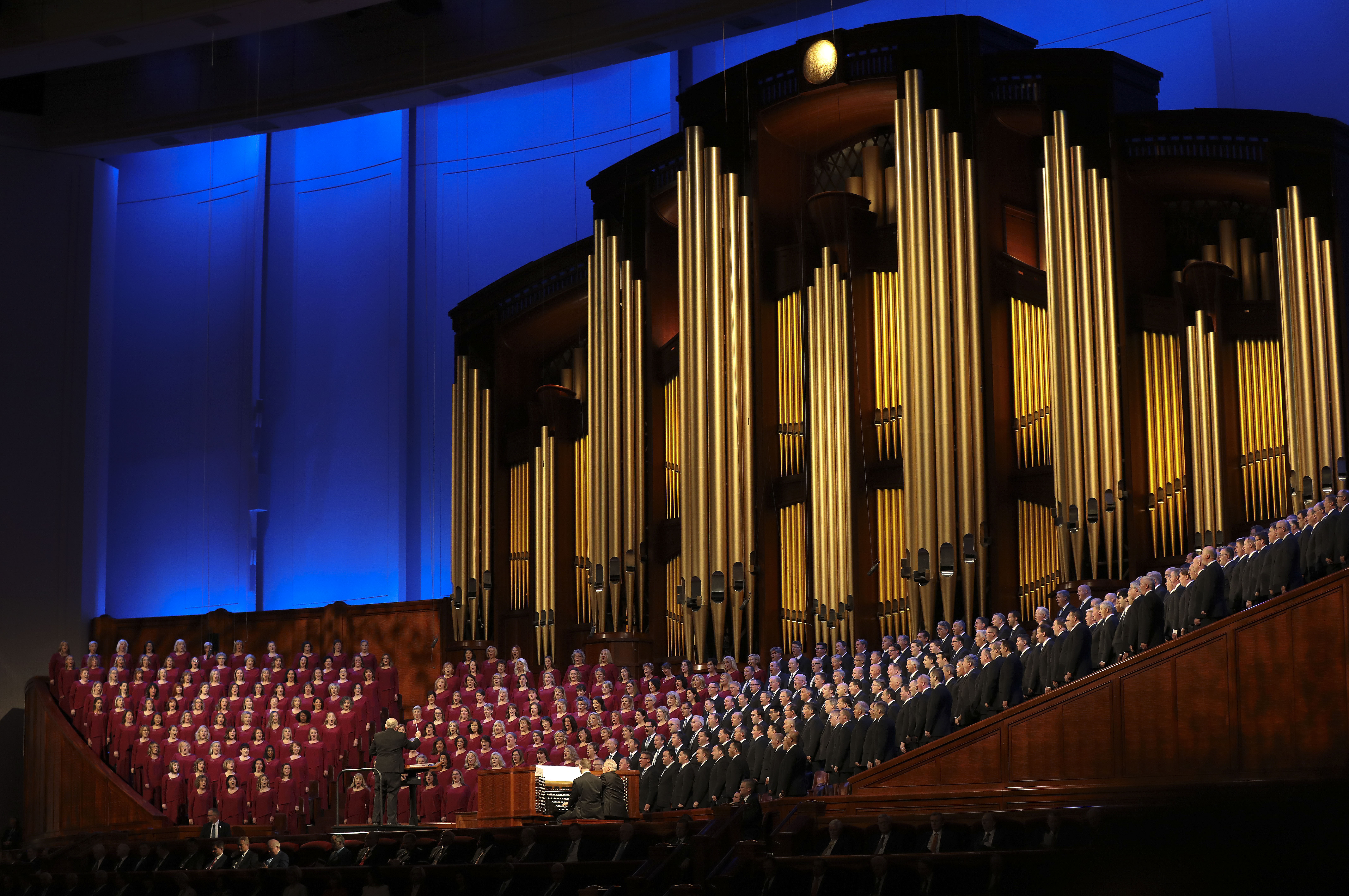 "The Tabernacle Choir at Temple Square performs during ""Music and the Spoken Word"" before the Sunday morning session of the 189th Semiannual General Conference of The Church of Jesus Christ of Latter-day Saints in the Conference Center in Salt Lake City on Sunday, Oct. 6, 2019."
