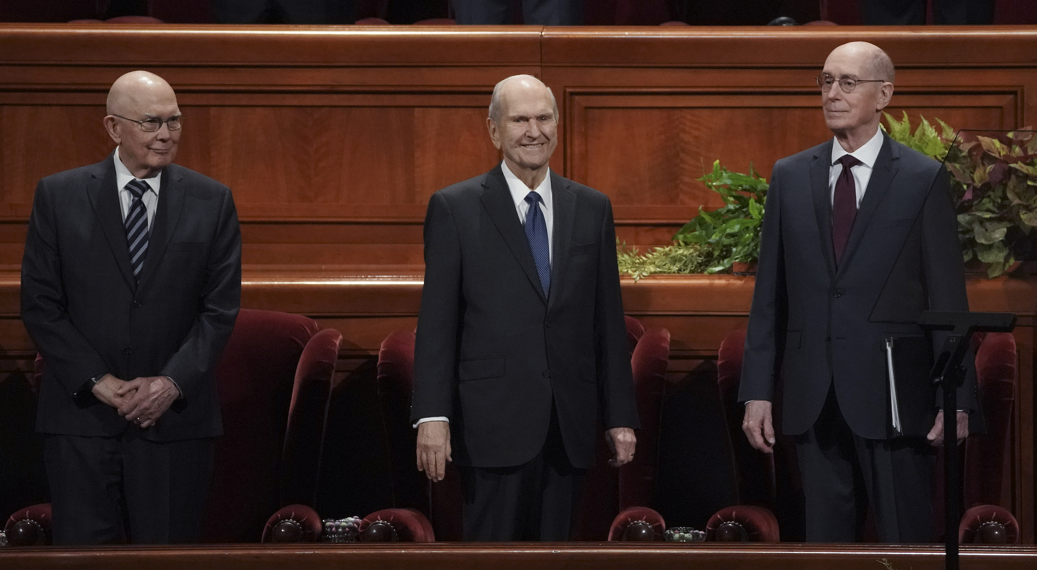 President Russell M. Nelson, center, and his counselors, President Dallin H. Oaks, first counselor in the First Presidency, left, and President Henry B. Eyring, second counselor in the First Presidency, right, stand during the 189th Semiannual General Conference of The Church of Jesus Christ of Latter-day Saints in the Conference Center in Salt Lake City on Sunday, Oct. 6, 2019.