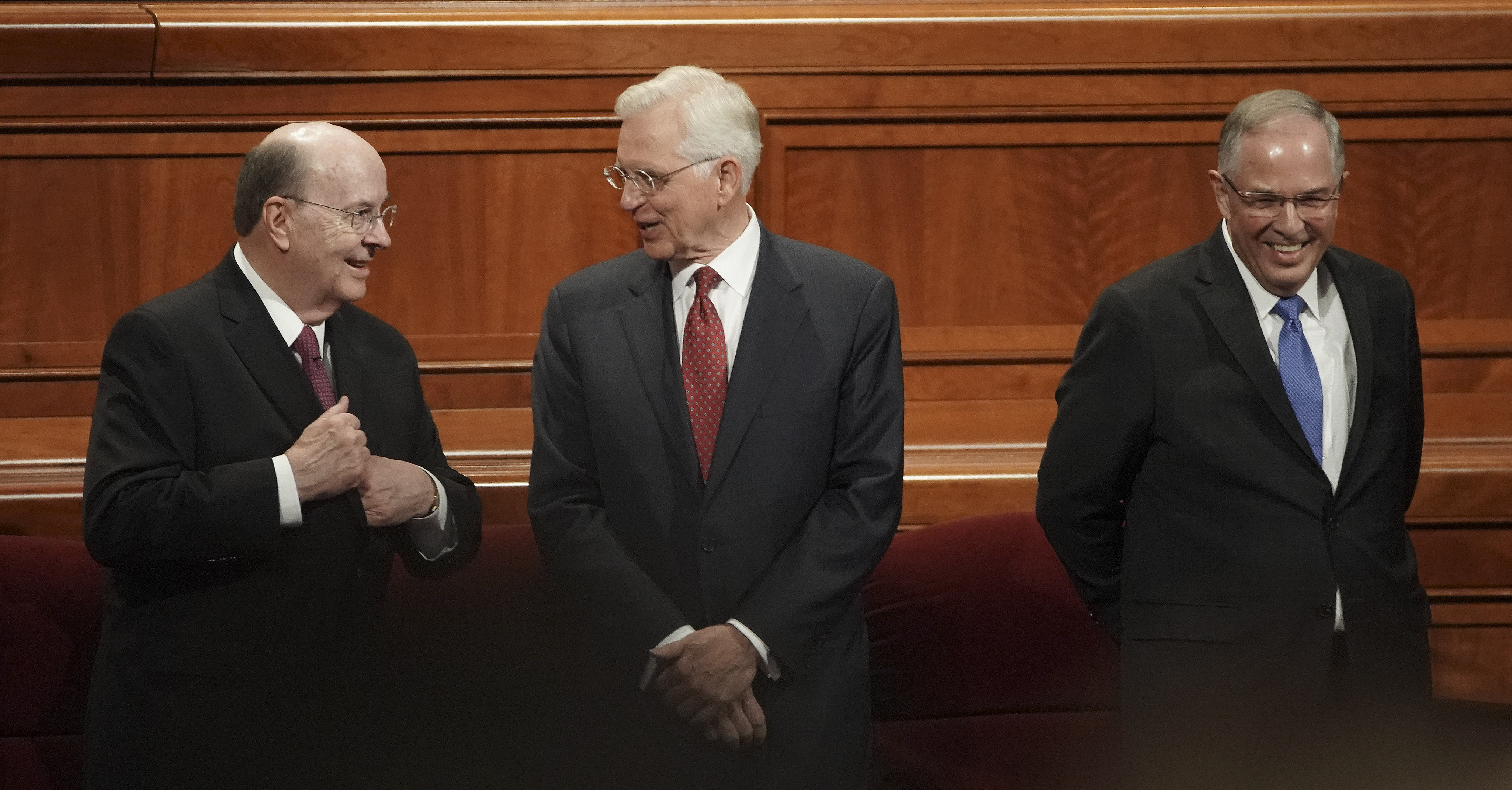 Elder Quentin L. Cook, left, Elder D. Todd Christofferson and Elder Neil L. Andersen of the Quorum of the Twelve Apostles talk prior to the Sunday morning session of the 189th Semiannual General Conference of The Church of Jesus Christ of Latter-day Saints in the Conference Center in Salt Lake City on Sunday, Oct. 6, 2019.