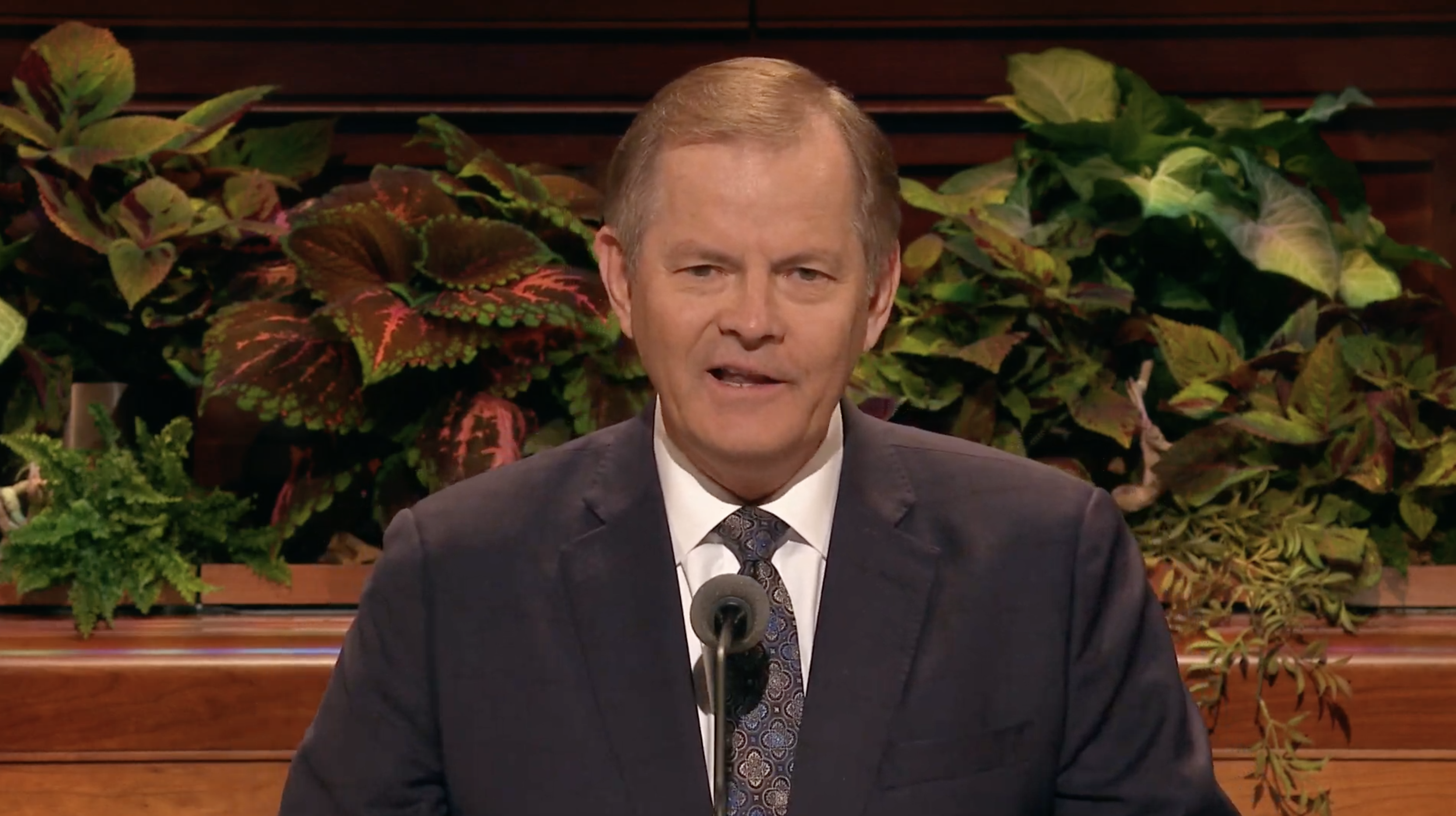Elder Gary E. Stevenson of the Quorum of the Twelve Apostles speaks during the Sunday morning session in the 189th Semiannual General Conference of the Church on Oct. 6, 2019.