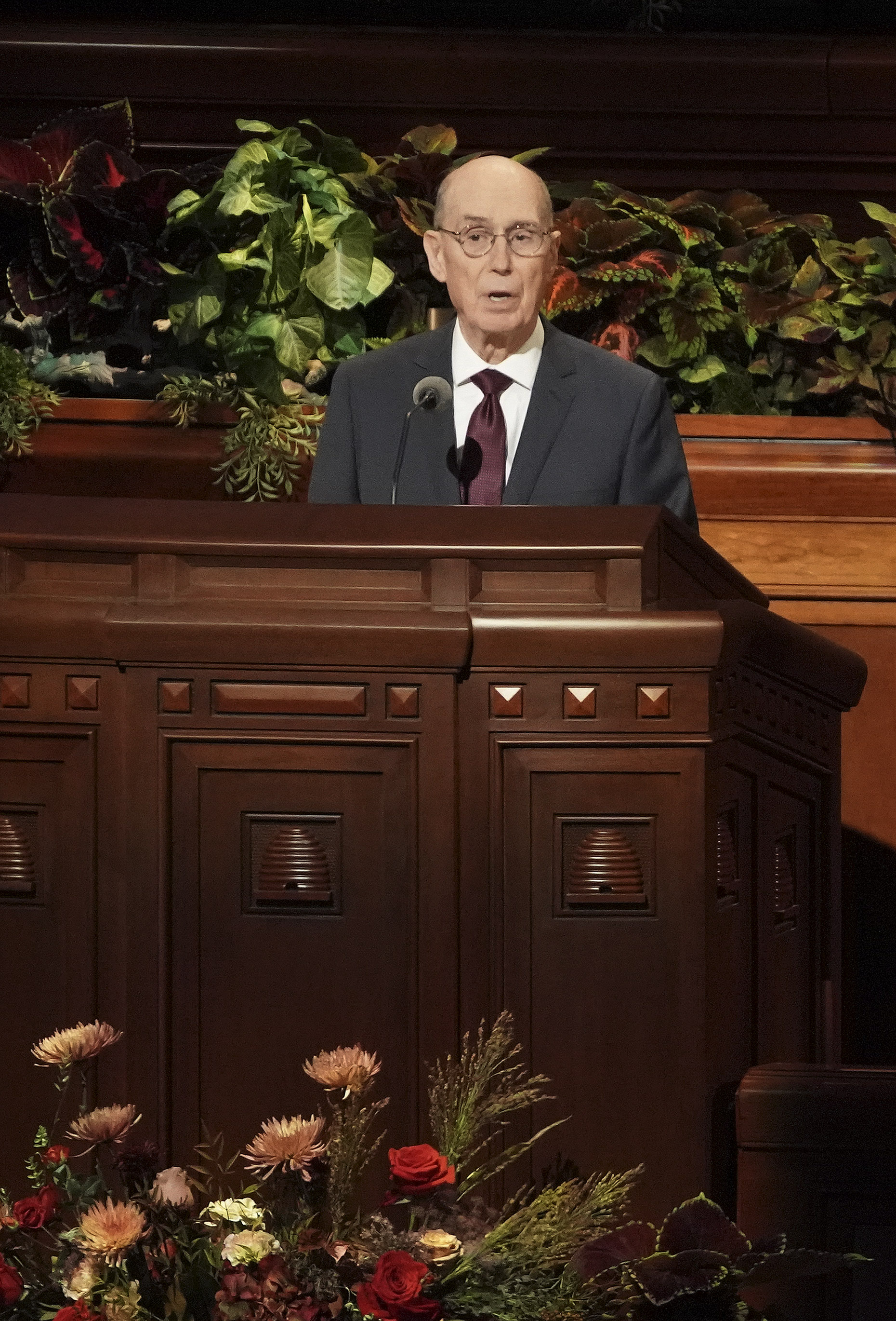 President Henry B. Eyring, second counselor First Presidency, speaks during the Sunday afternoon session of the 189th Semiannual General Conference of The Church of Jesus Christ of Latter-day Saints in Salt Lake City on Oct. 6, 2019.