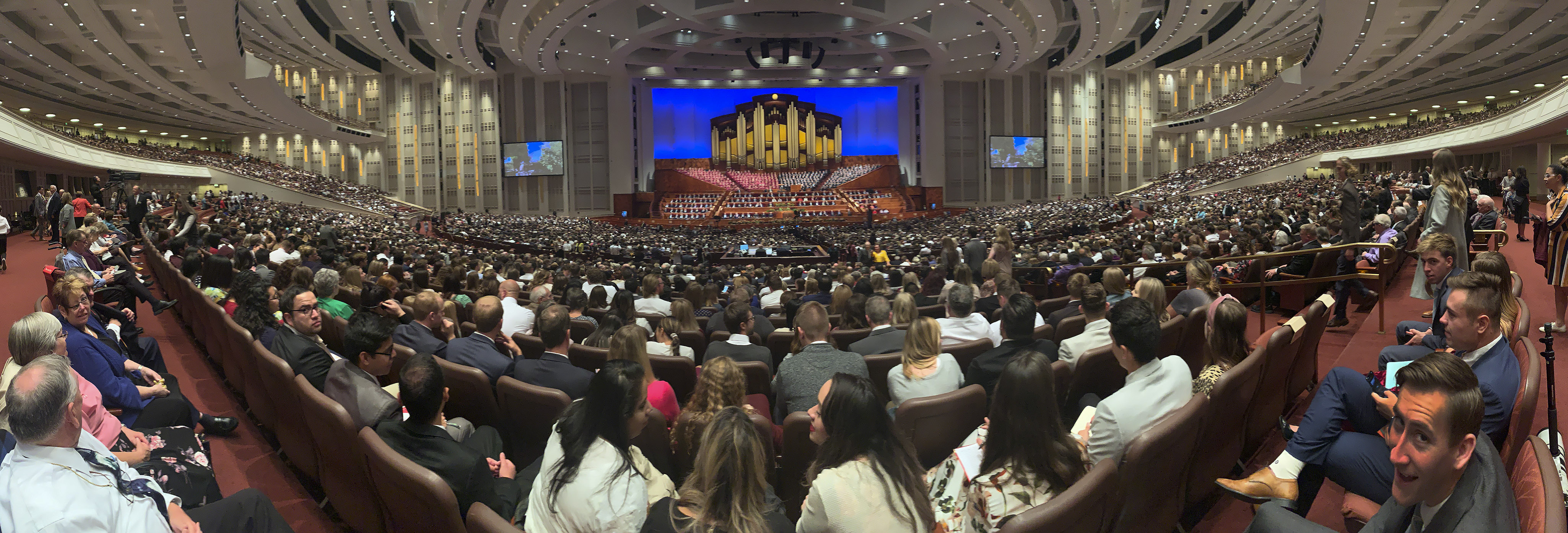 Attendees listen during the Sunday afternoon session of the 189th Semiannual General Conference of The Church of Jesus Christ of Latter-day Saints in Salt Lake City on Oct. 6, 2019.