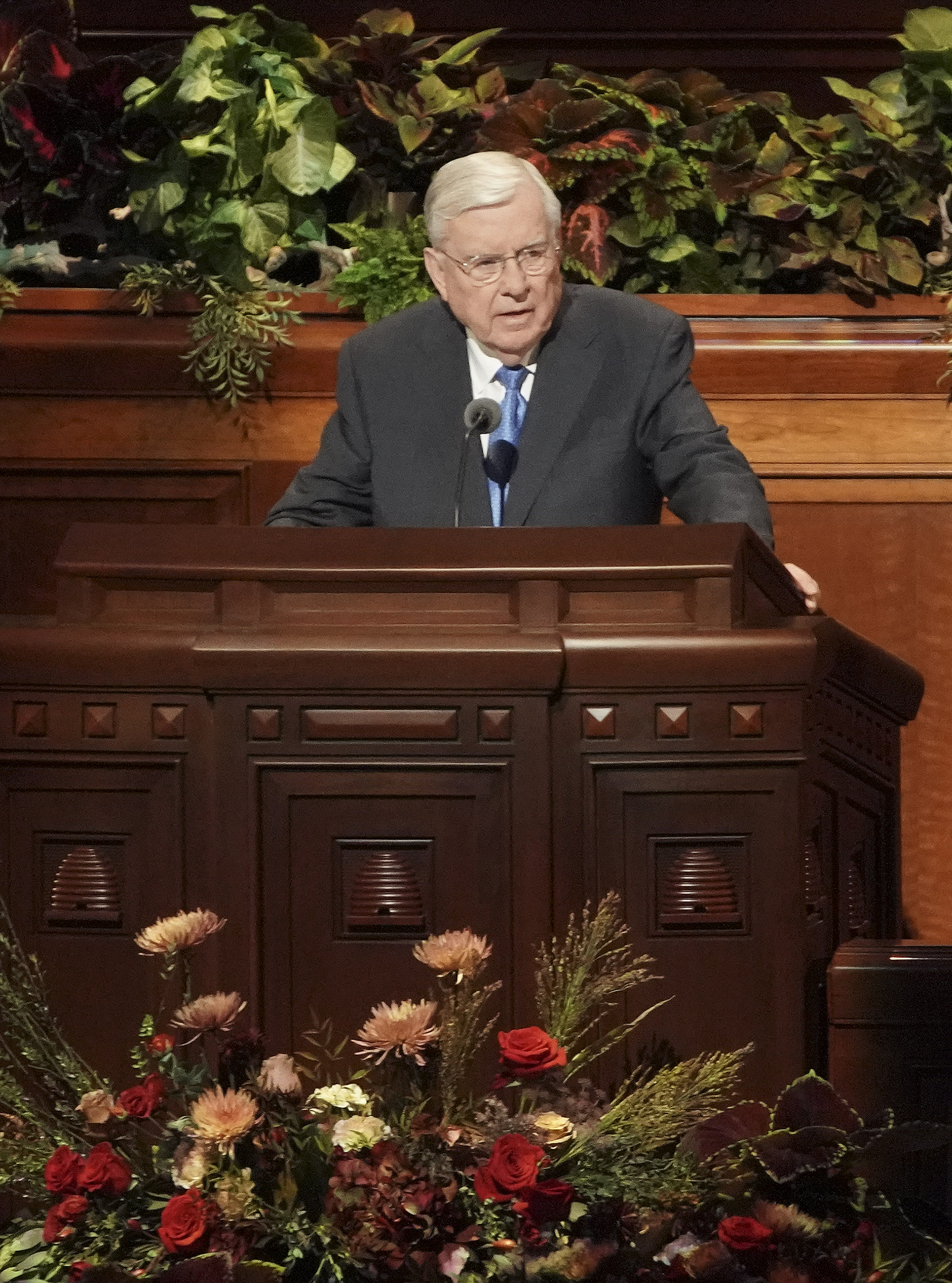 President M. Russell Ballard, acting president of the Quorum of the Twelve Apostles, speaks during the Sunday afternoon session of the 189th Semiannual General Conference of The Church of Jesus Christ of Latter-day Saints in Salt Lake City on Oct. 6, 2019.