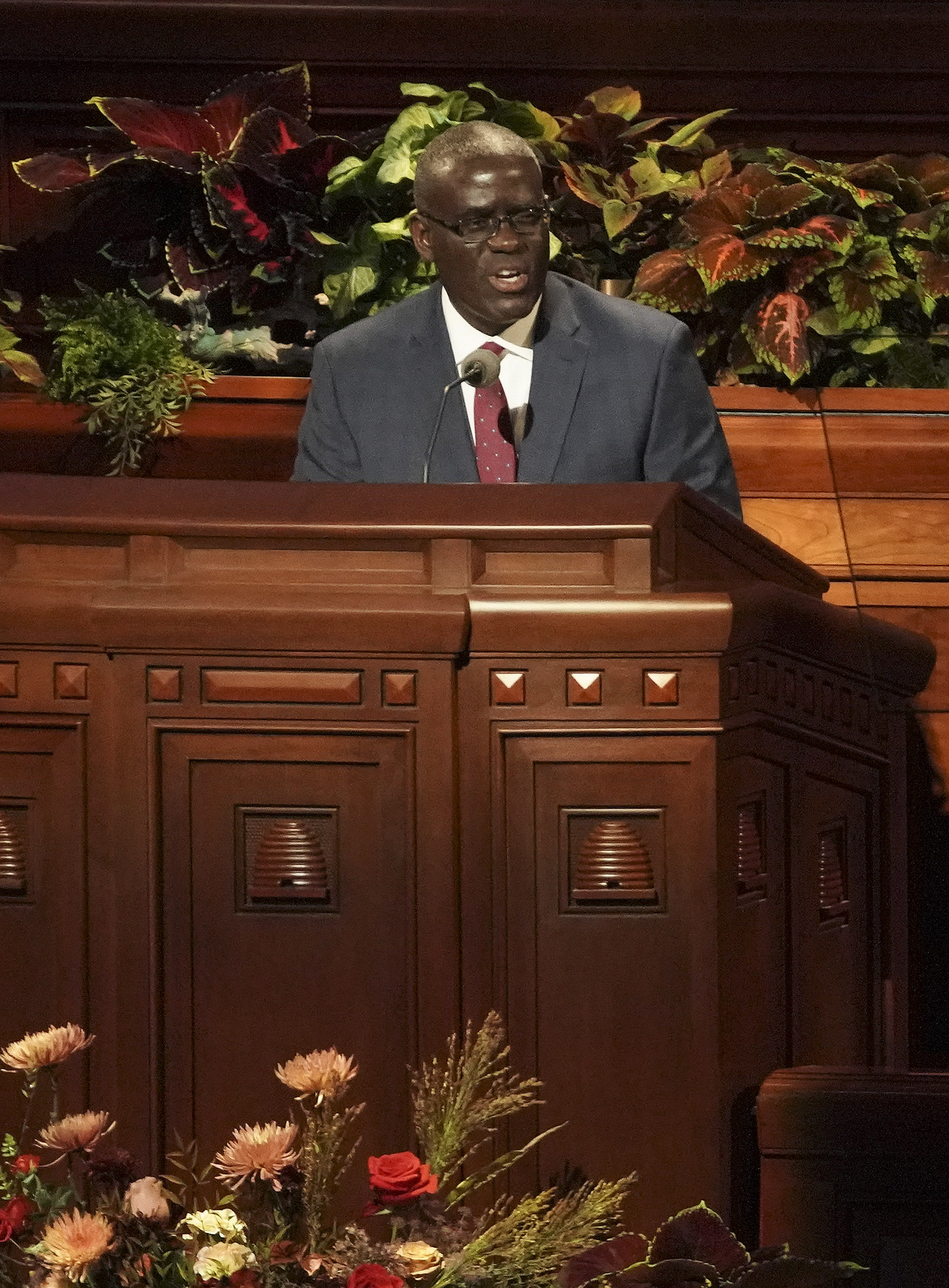 Elder Peter M. Johnson, General Authority Seventy, speaks during the Sunday afternoon session of the 189th Semiannual General Conference of The Church of Jesus Christ of Latter-day Saints in Salt Lake City on Oct. 6, 2019.