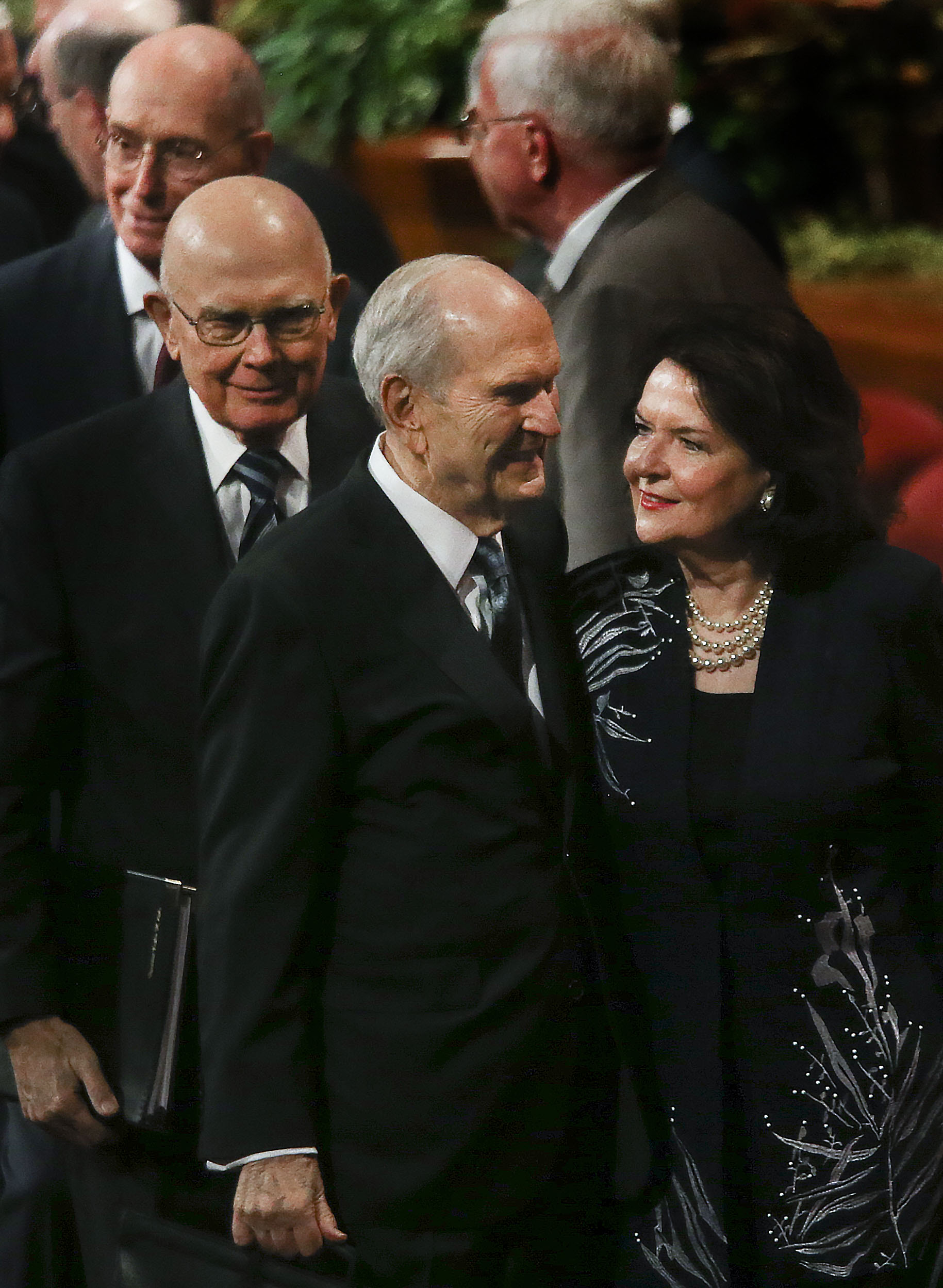 President Russell M. Nelson and his wife Sister Wendy Nelson leave the Sunday afternoon session of the 189th Semiannual General Conference of The Church of Jesus Christ of Latter-day Saints in Salt Lake City on Sunday, Oct. 6, 2019. Following President Nelson and his wife is President Dallin H. Oaks, first counselor in the First Presidency, left, and President Henry B. Eyring, second counselor in the First Presidency.