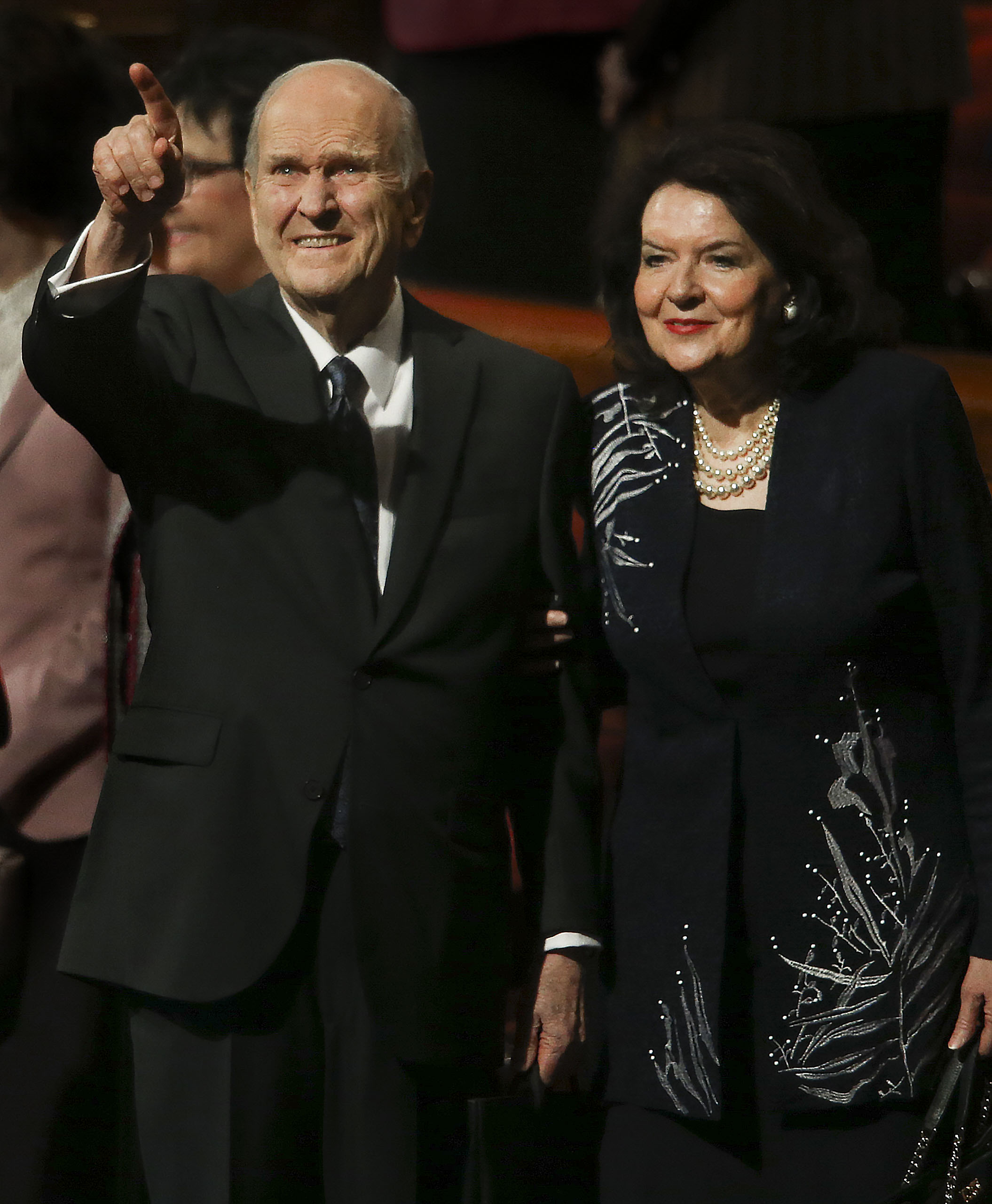 President Russell M. Nelson and his wife Sister Wendy Nelson wave to attendees after the Sunday afternoon session of the 189th Semiannual General Conference of The Church of Jesus Christ of Latter-day Saints in Salt Lake City on Sunday, Oct. 6, 2019.