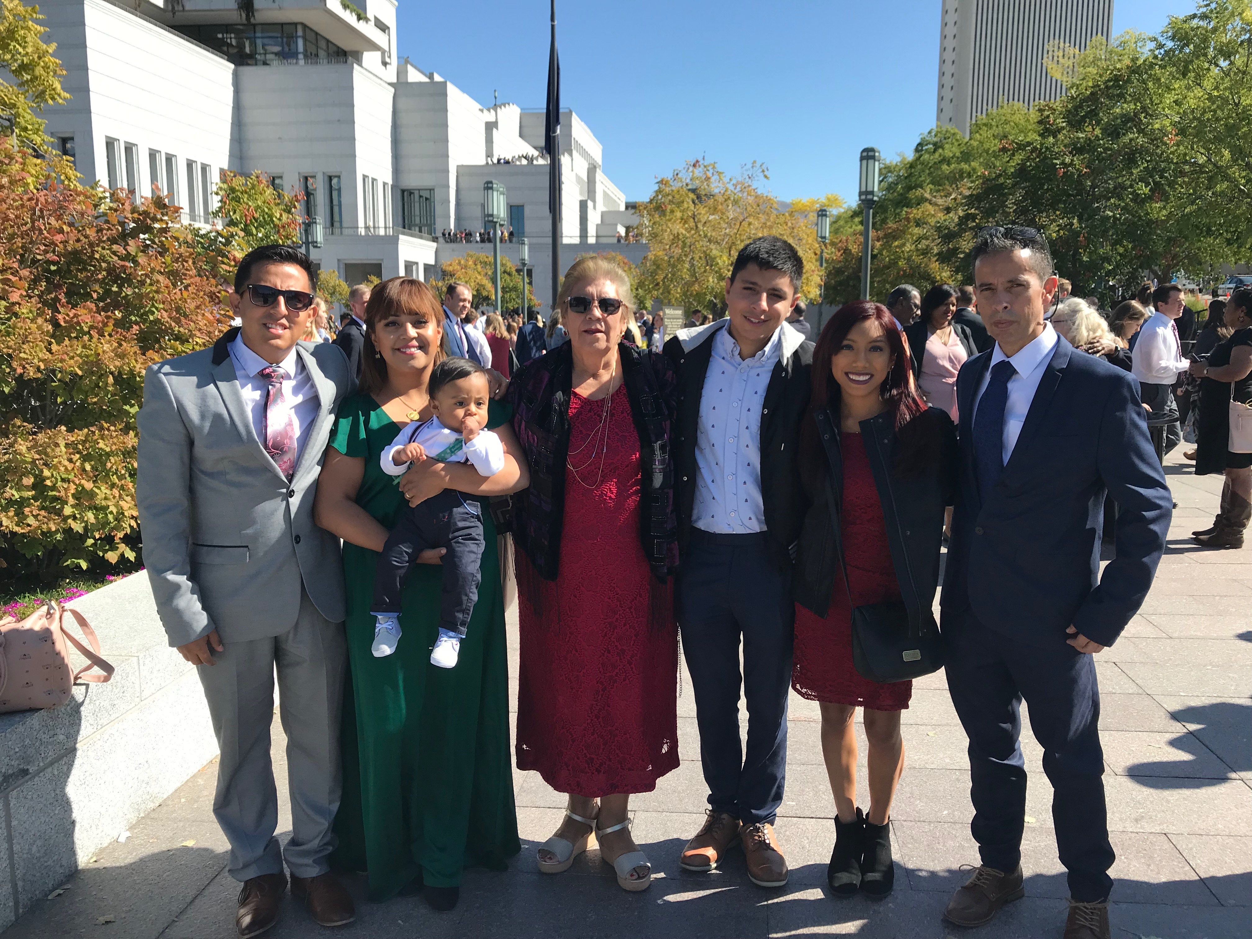 Angie Ibarra, second from left, is pictured with her husband, left, and other family members at general conference on Oct. 6, 2019. Ibarra and her family are from Guanajuato, Mexico.