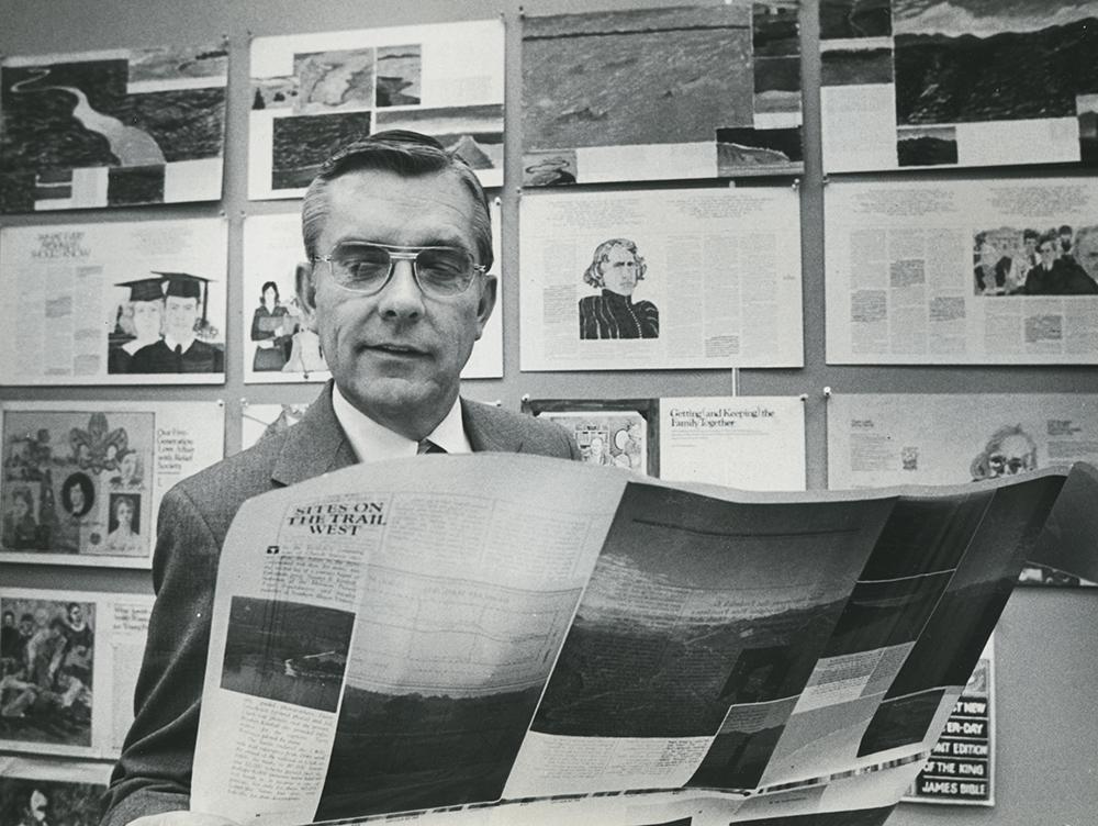 Elder M. Russell Ballard reviews curriculum material at the Church in March 1980.