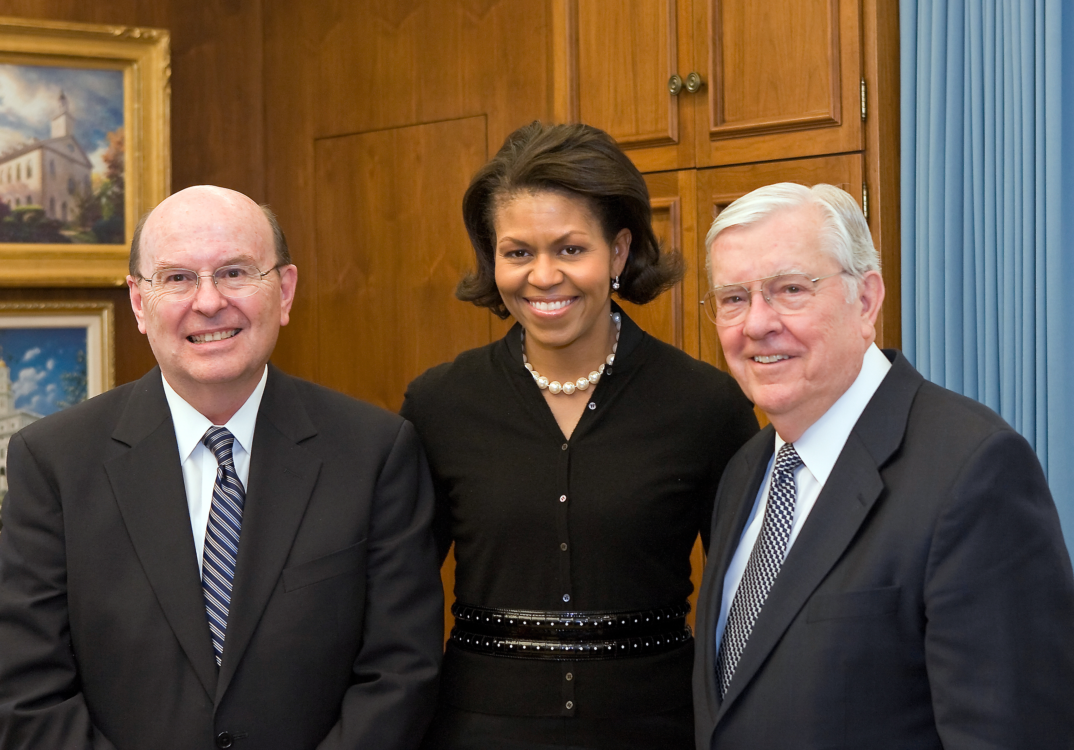 Michelle Obama, middle, meets with the Elder Quentin L. Cook, left, and Elder M. Russell Ballard, right, at Church Headquarters during a campaign stop in Salt Lake City on behalf of her husband, Sen. Barack Obama, in February 2008.