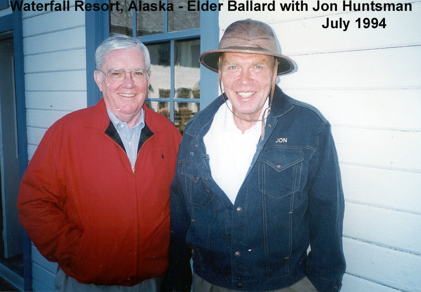 Elder M. Russell Ballard and Jon M. Huntsman Sr. are pictured at Waterfall Resort in Alaska in July 1994. They were great friends. Elder Huntsman, a successful businessman who served as an Area Seventy and mission president, passed away in February 2018.