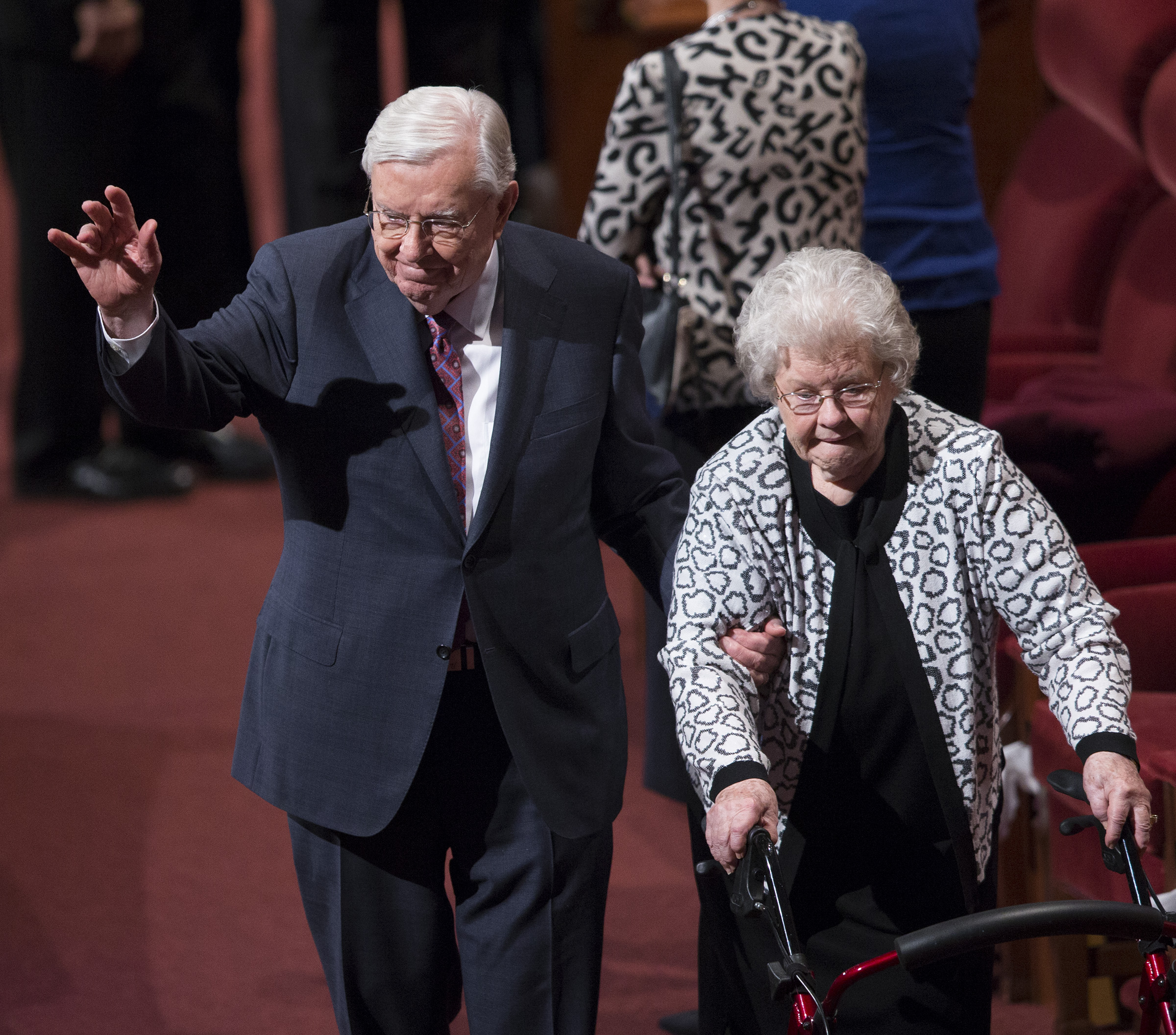 Elder M. Russell Ballard and his wife, Sister Barbara Ballard, exit at the end of the afternoon session of 187th Semiannual General Conference in the Conference Center in Salt Lake City on Sunday, Oct. 1, 2017. Sister Ballard passed away on Oct. 1, 2018, at age 86.