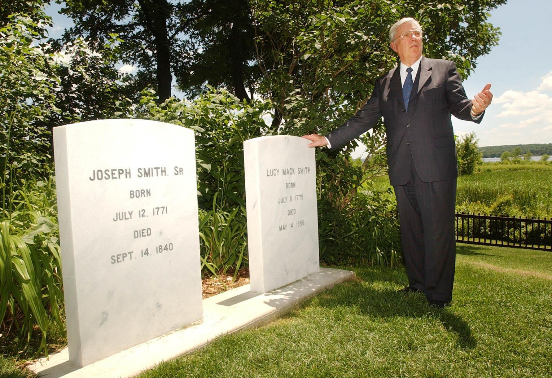 Elder M. Russell Ballard talks about grave sites of Joseph and Hyrum Smith commemoration service June 27, 2002. Jospeh Smith is Elder Ballard's great-great-great-uncle and Hyrum Smith is his great-great grandfather.