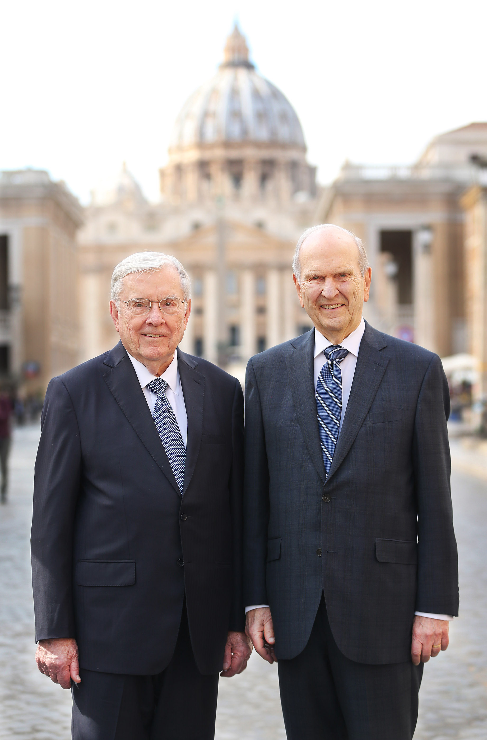 President Russell M. Nelson of The Church of Jesus Christ of Latter-day Saints and President M. Russell Ballard, acting president of the Quorum of the Twelve Apostles, pose near the Vatican in Rome, Italy, on March 9, 2019 after meeting with Pope Francis.