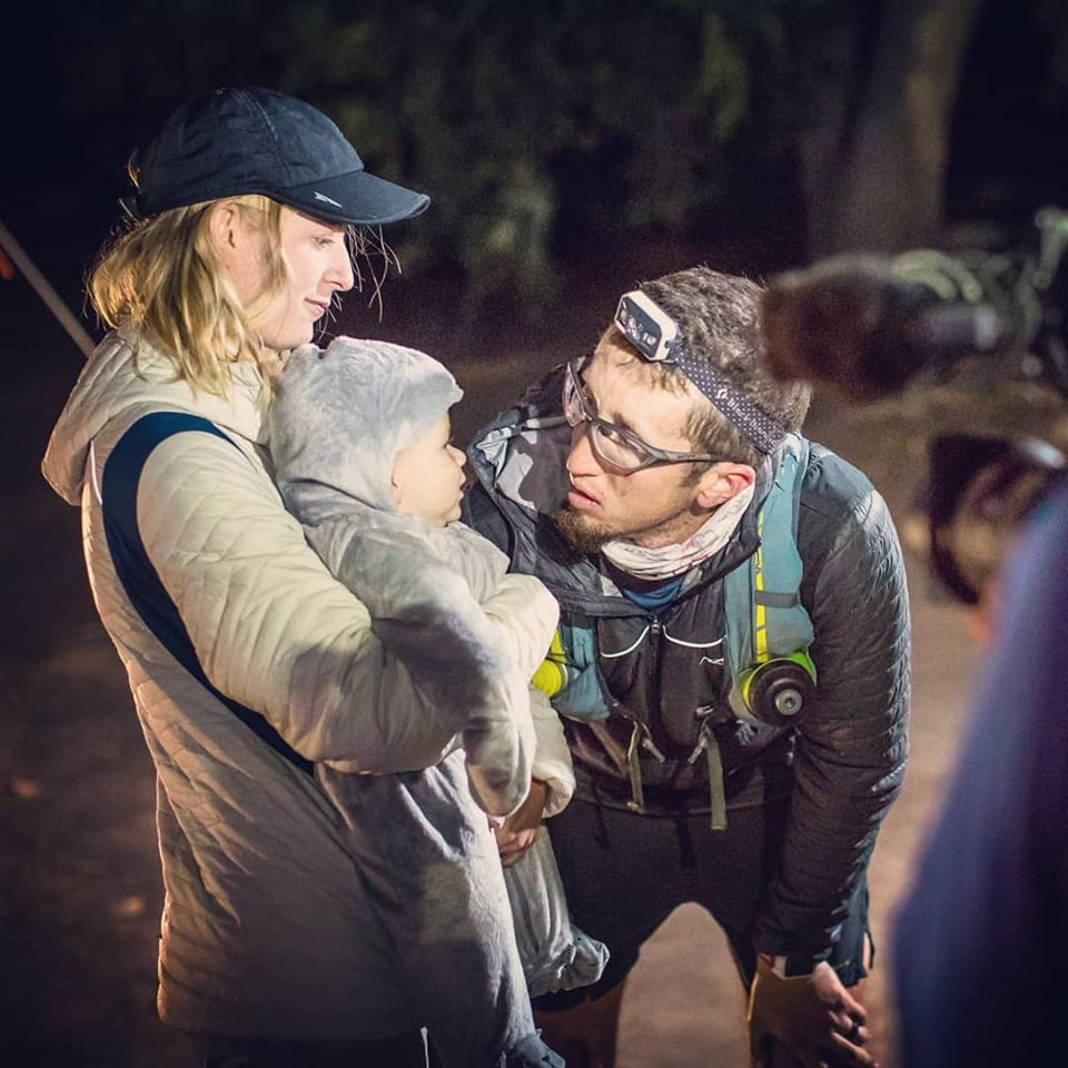 Ultramarathoner Michael McKnight talks to his wife, Sarah McKnight, and his son during one of more than 40 ultramarathons he has run.