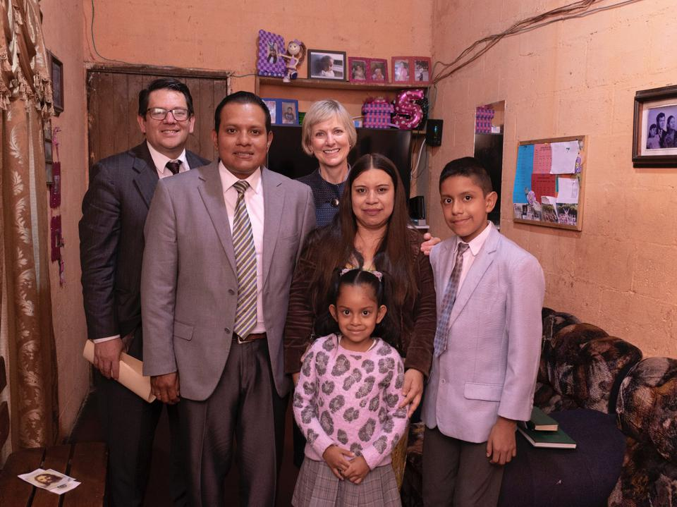 Siser Jean B. Bingham visits with the Herrera Benites family in Antigua, Guatemala during a recent ministering trip to Central America in September 2019.