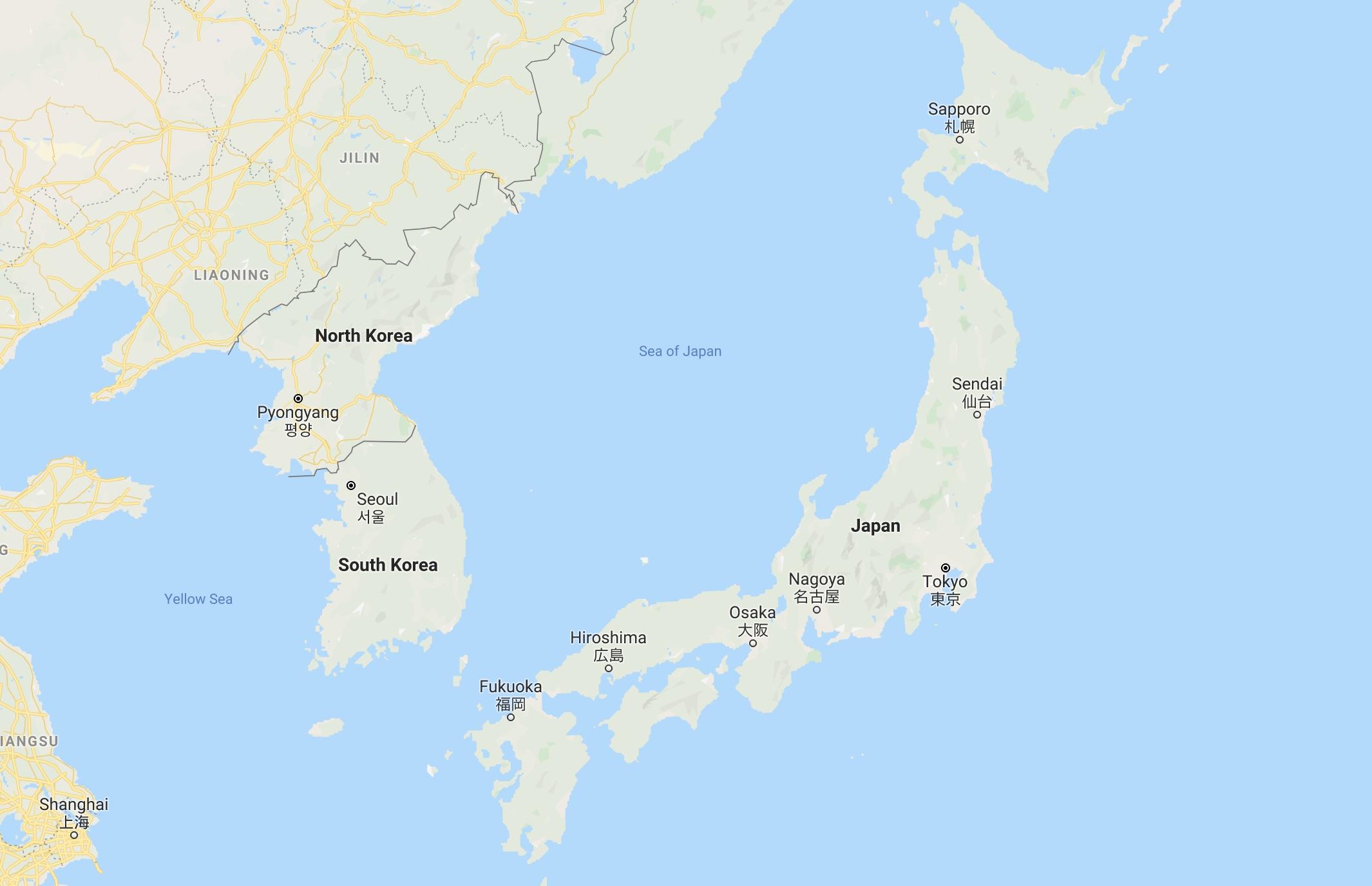 Screenshot of Japan from Google maps.