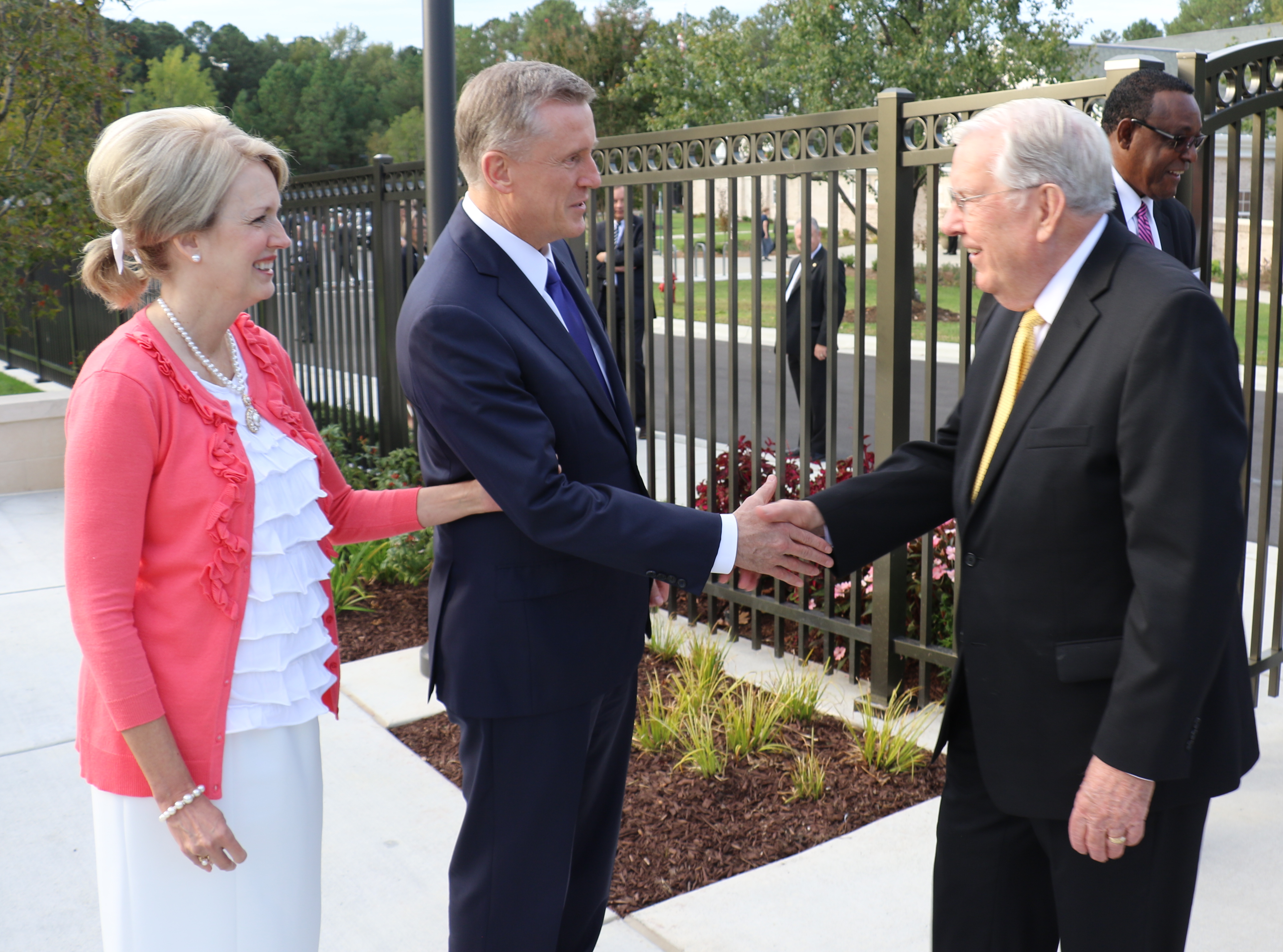 Elder Kevin R. Duncan and his wife, Sister Nancy Duncan, welcome President M. Russell Ballard to the Raleigh North Carolina Temple on Oct. 13, 2019.