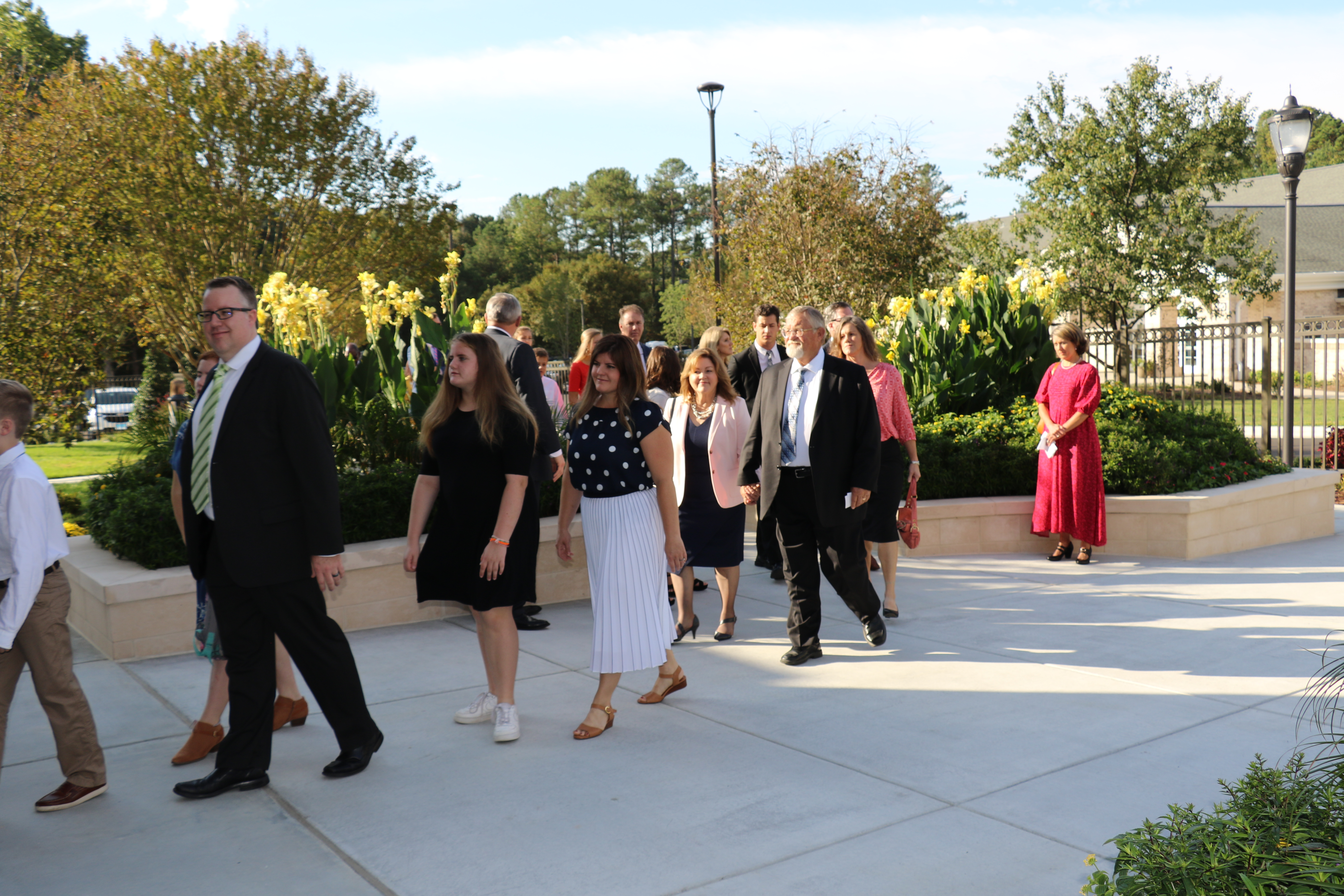 North Carolina Latter-day Saints arrive for the Oct. 13, 2019, rededication of the Raleigh North Carolina Temple. The temple was rededicated almost two decades after its original dedication.