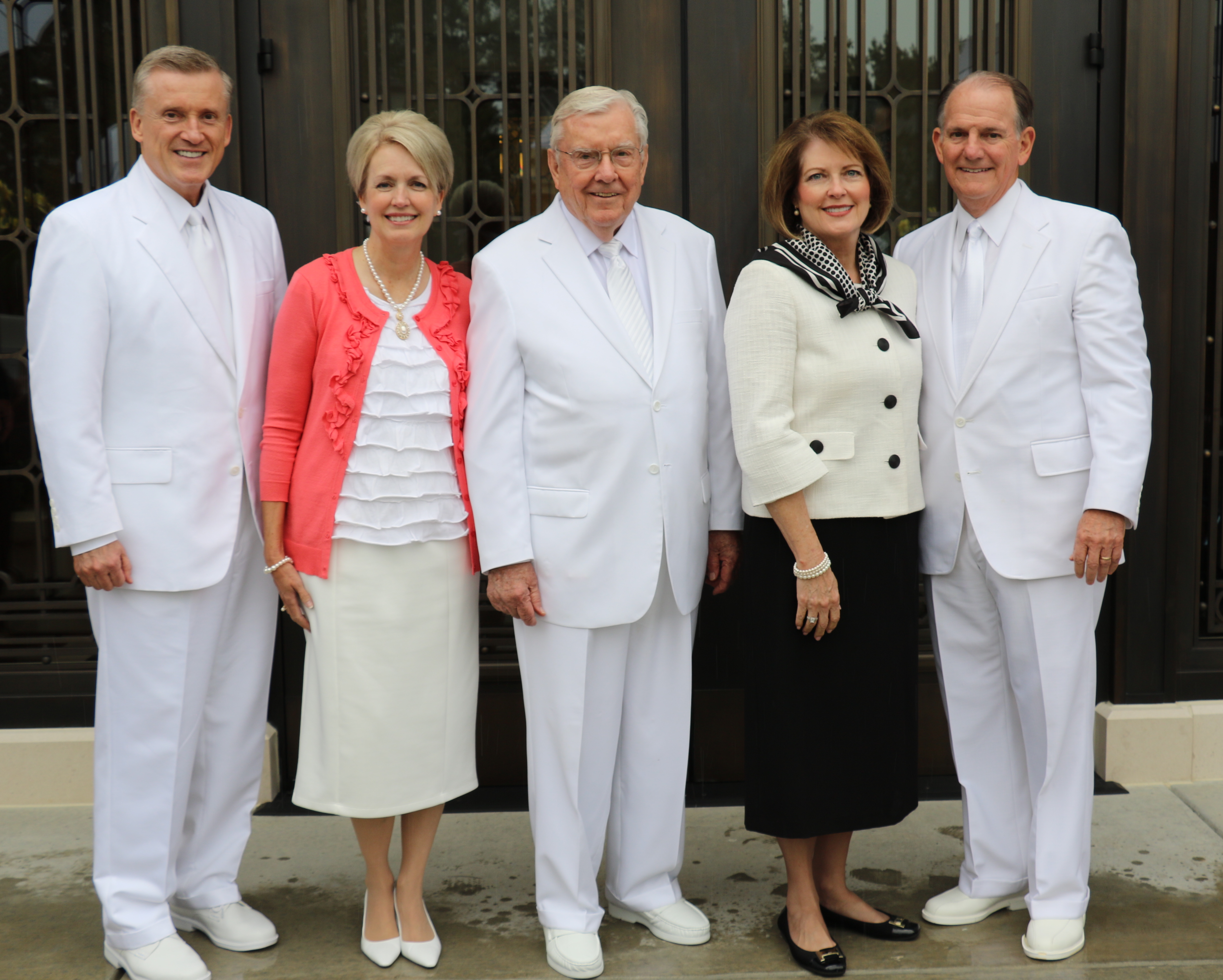 The visiting Brethren and their wives who participated in the Oct. 13, 2019, rededication of the Raleigh North Carolina Temple included, from left, Elder Kevin R. Duncan, Sister Nancy Duncan, President M. Russell Ballard, Sister Jennie Martino and Elder James B. Martino.