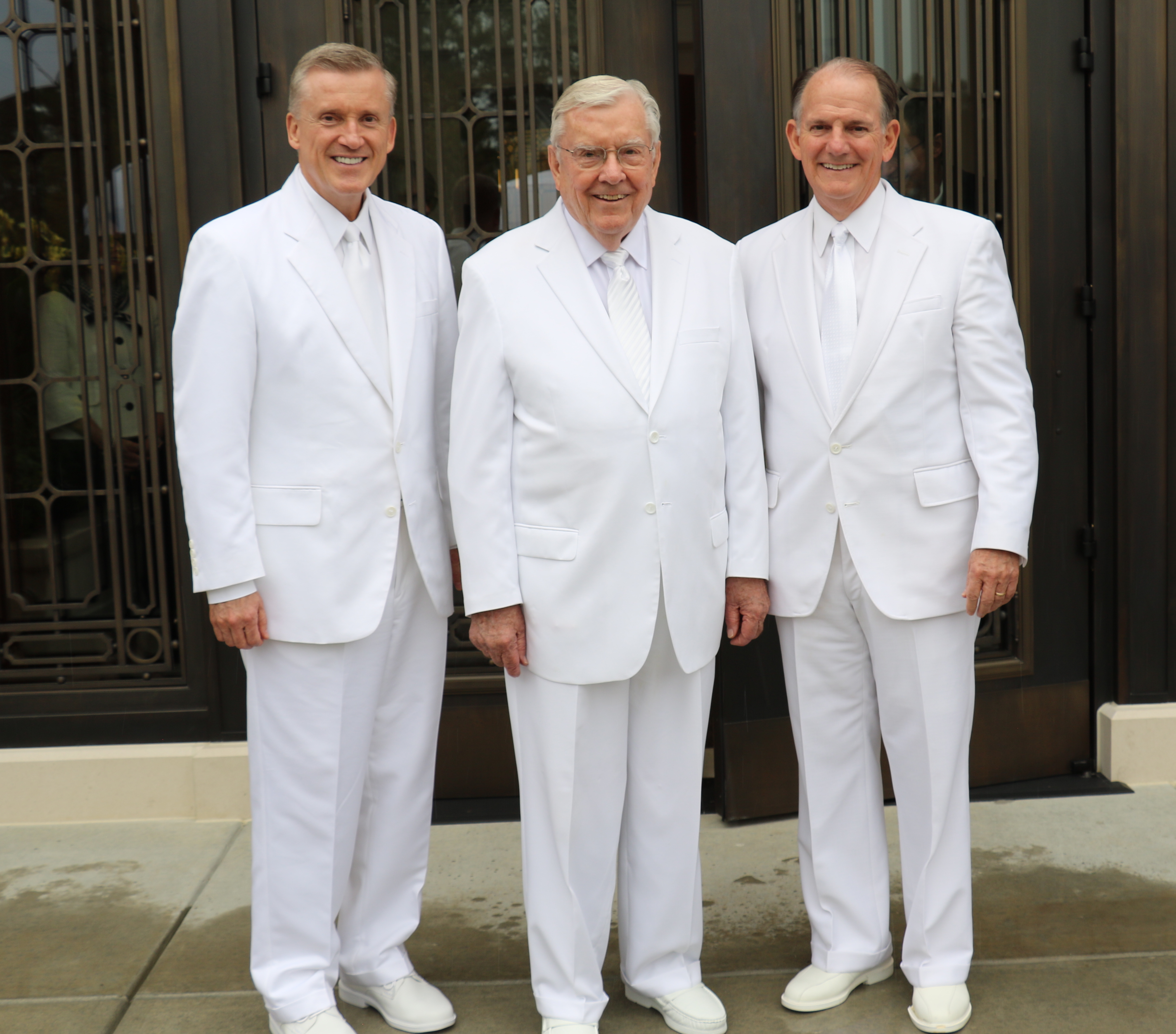 President M. Russell Ballard, center, was assisted at the Oct. 13, 2019, rededication of the Raleigh North Carolina Temple by Elder Kevin R. Duncan, left, and Elder James B. Martino.