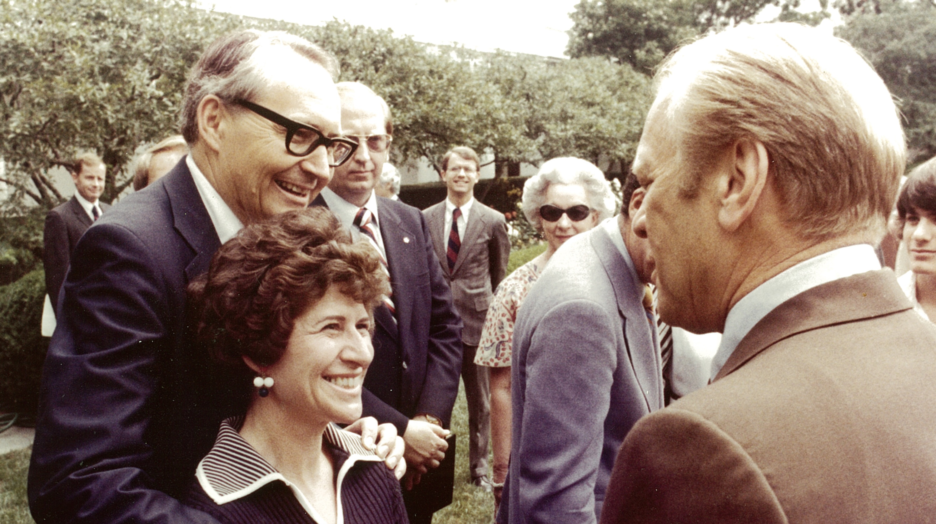 Elder L. Tom and Sister Barbara Perry meet U.S. President Gerald R. Ford at a Rose Garden reception in 1976.