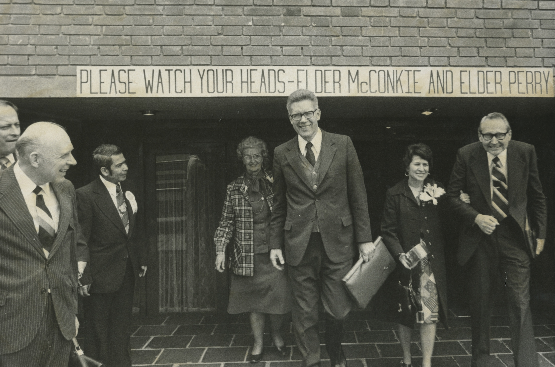"Fearing that Elder L. Tom Perry and Elder Bruce R. McConkie were too tall for their buildings, Latter-day Saints in Bogota, Colombia, posted signs for them to ""watch their heads"" in March 1977."
