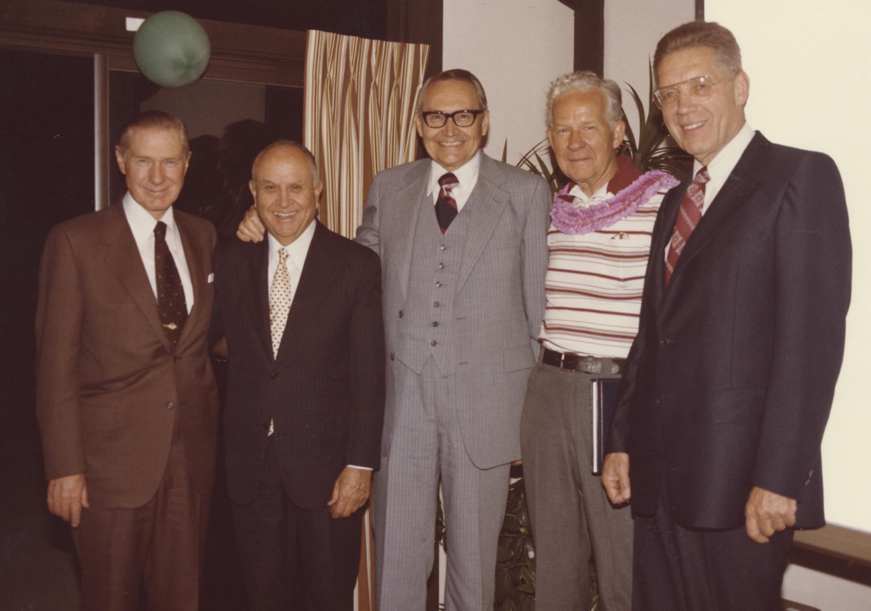 Left to right: Elder James E. Faust, Elder David B. Haight, Elder L. Tom Perry, Elder Marvin J. Ashton and Elder Bruce R. McConkie celebrate Elder Ashton's 65th birthday.